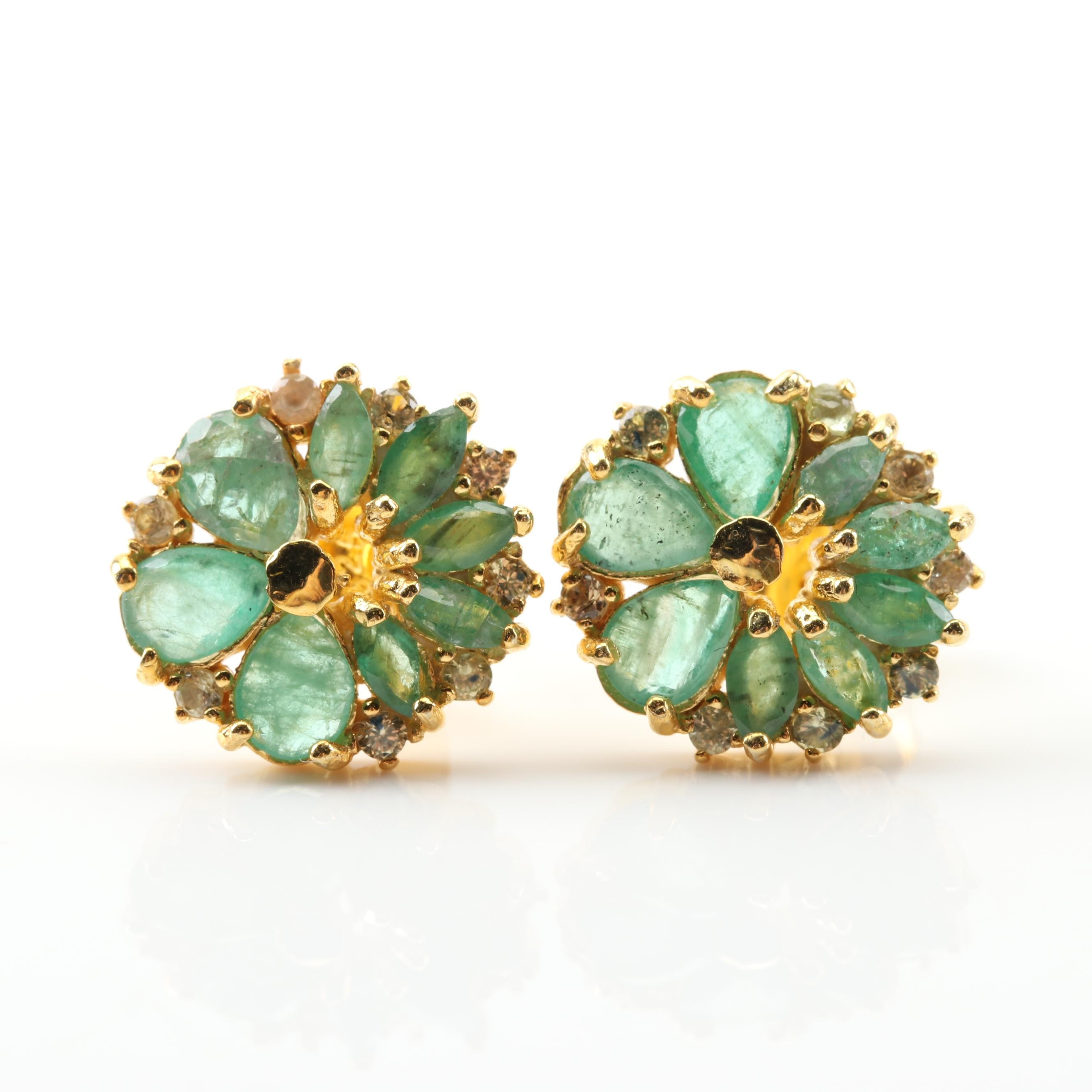Sterling Silver Emerald Flower Earrings with Yellow Gold Wash