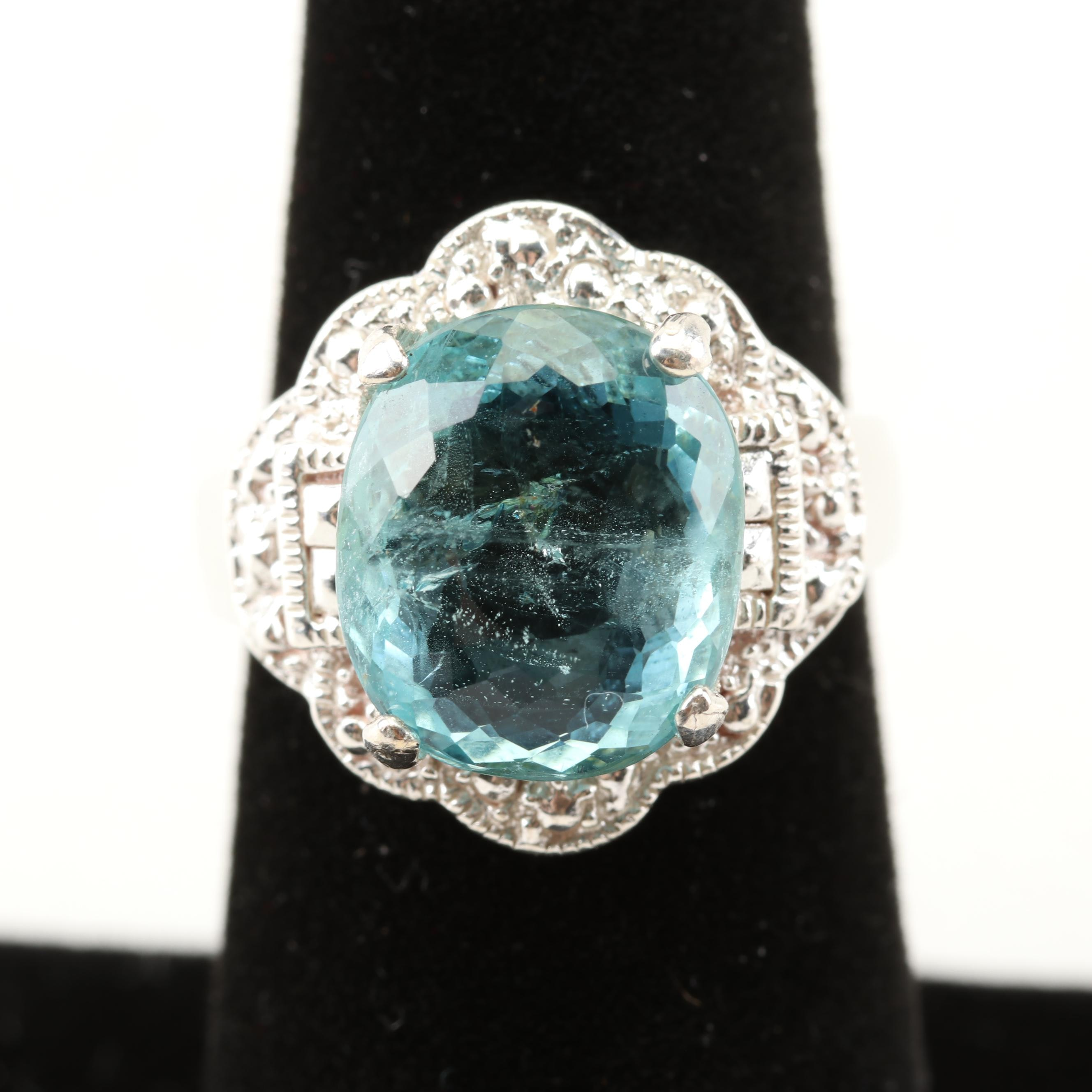 Sterling Silver 5.08 CT Aquamarine Ring