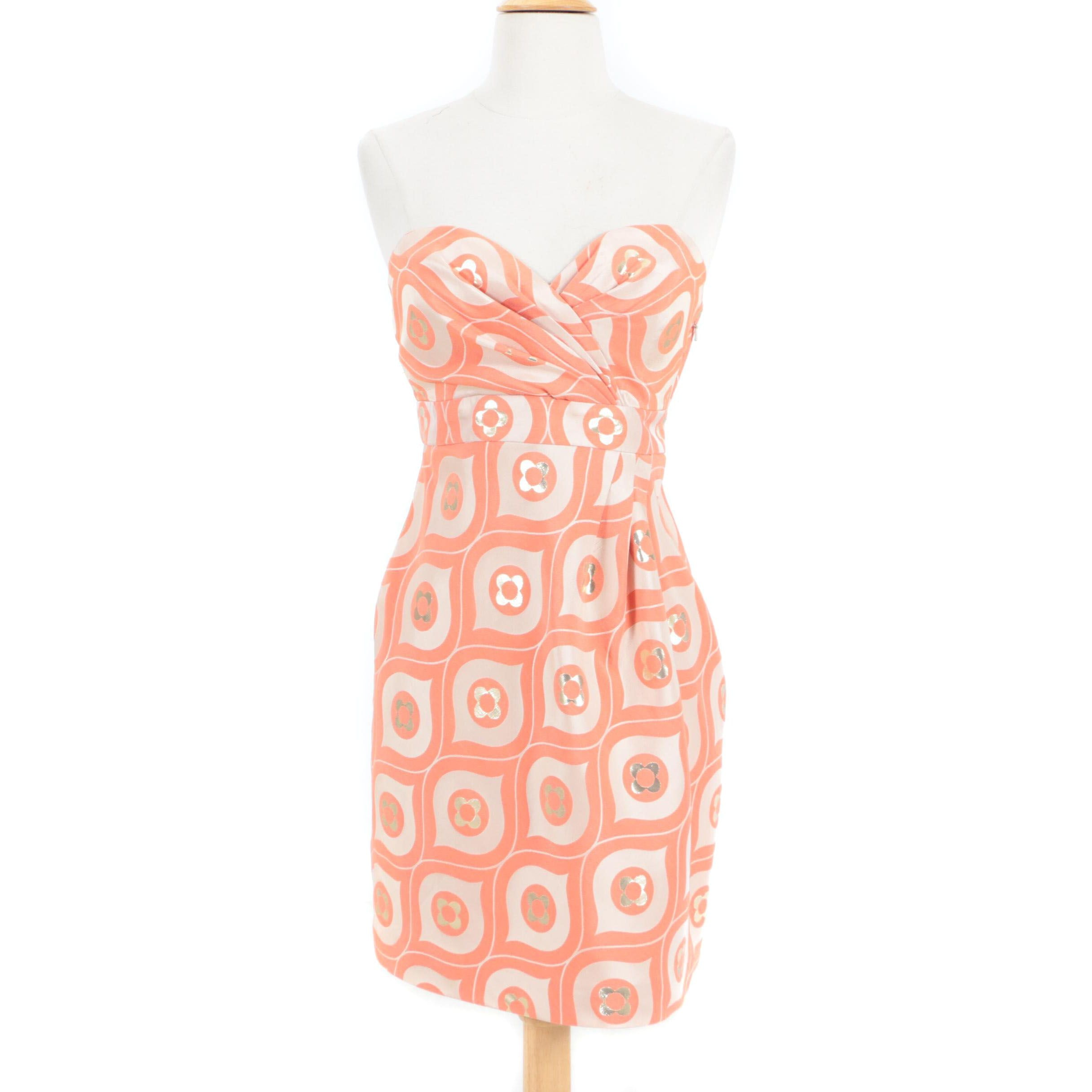 Tibi Coral and Beige Ogee Pattern Brocade Strapless Cocktail Dress
