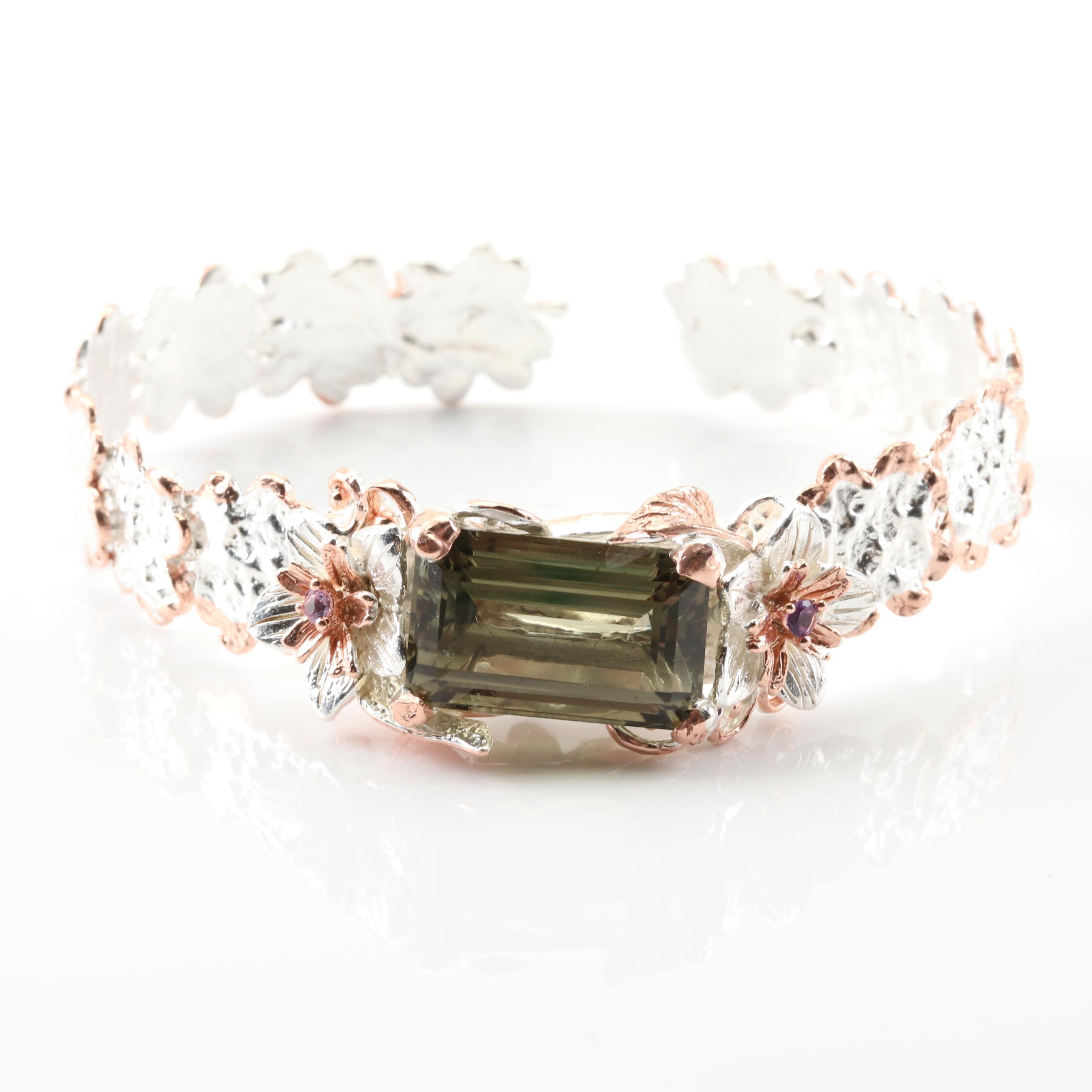 Sterling Silver 18.76 CT Green Quartz and Amethyst Flower Cuff Bracelet