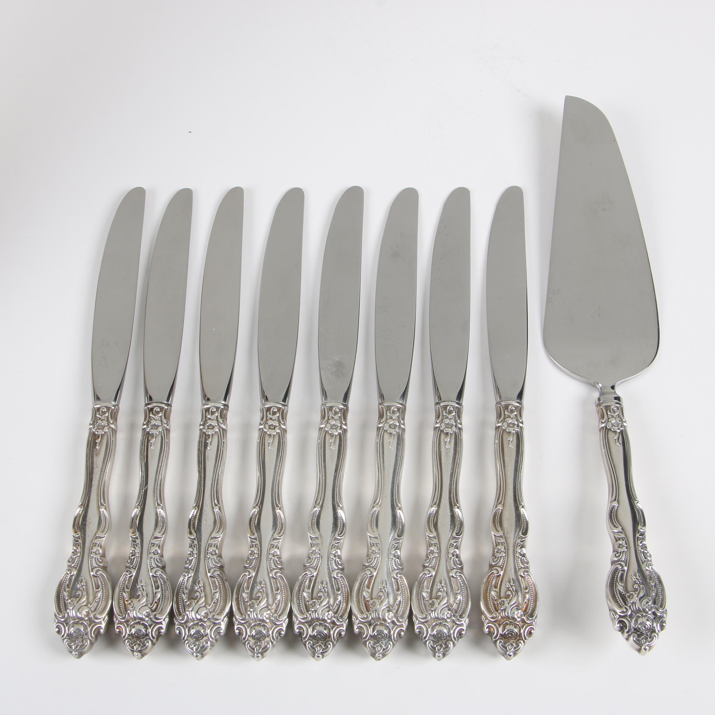 "Gorham ""La Scala"" Sterling Silver Dinner Knives and Server"