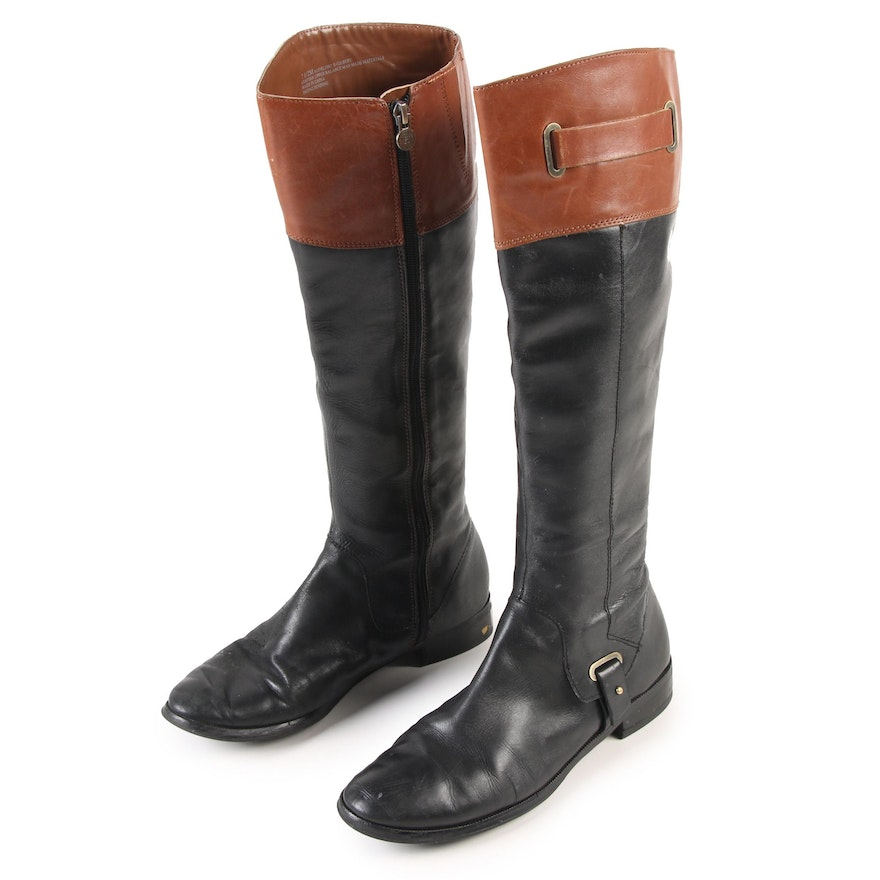 cceaddf569c Etienne Aigner Riding Boots in Black and Brown Leather