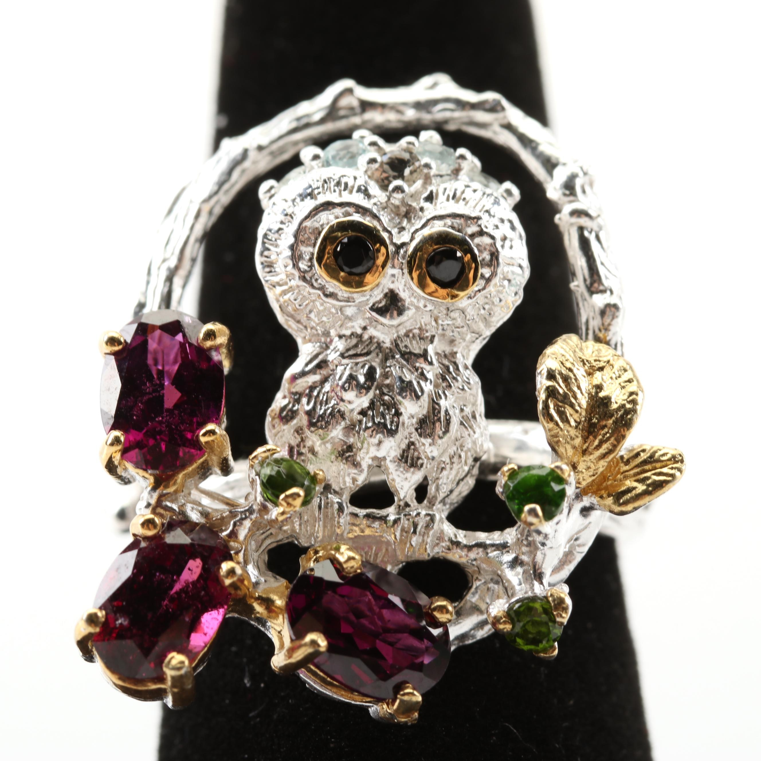 Sterling Silver Owl Ring with Garnet and Peridot Accents