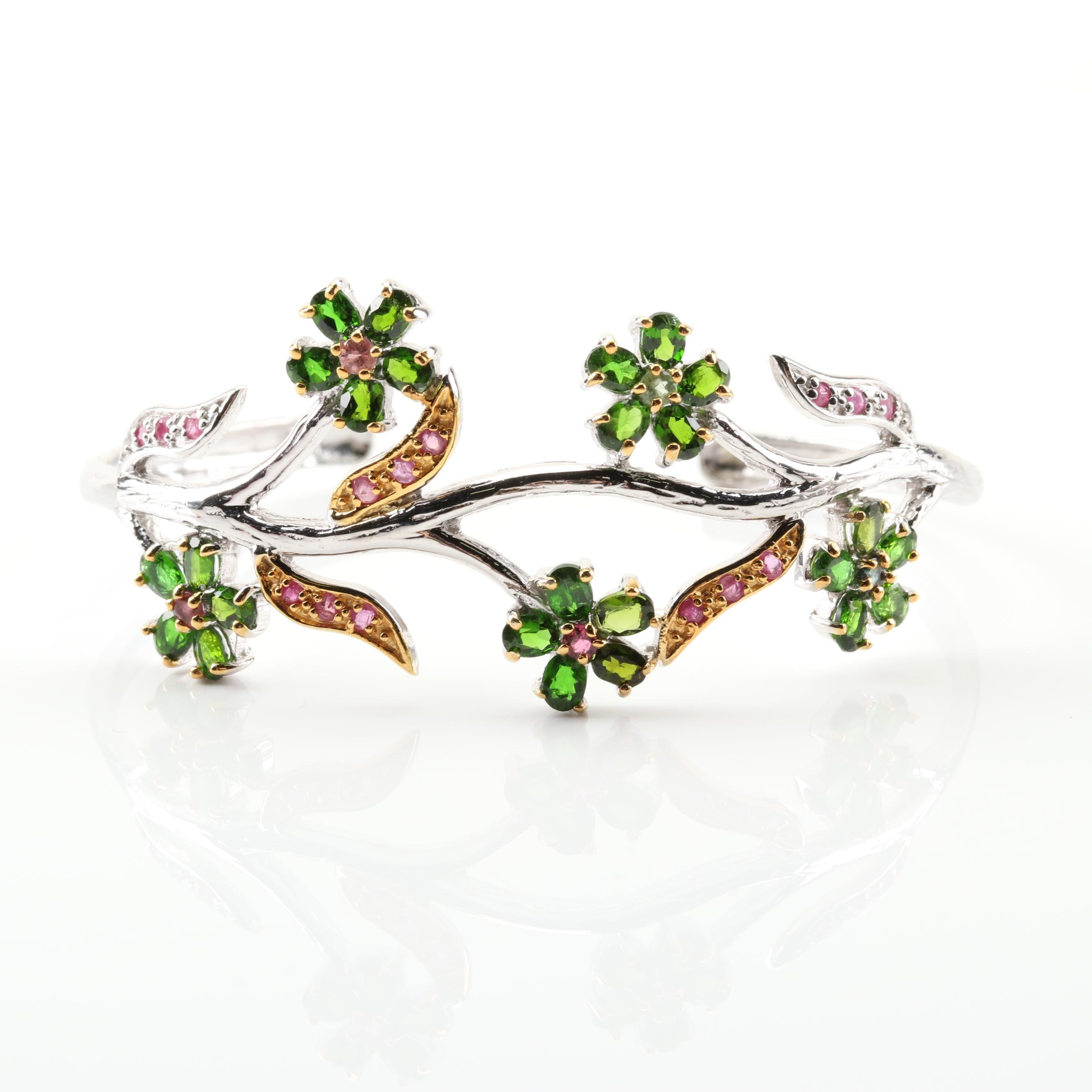 Sterling Silver Chrome Diopside, Ruby, and Tourmaline Cuff