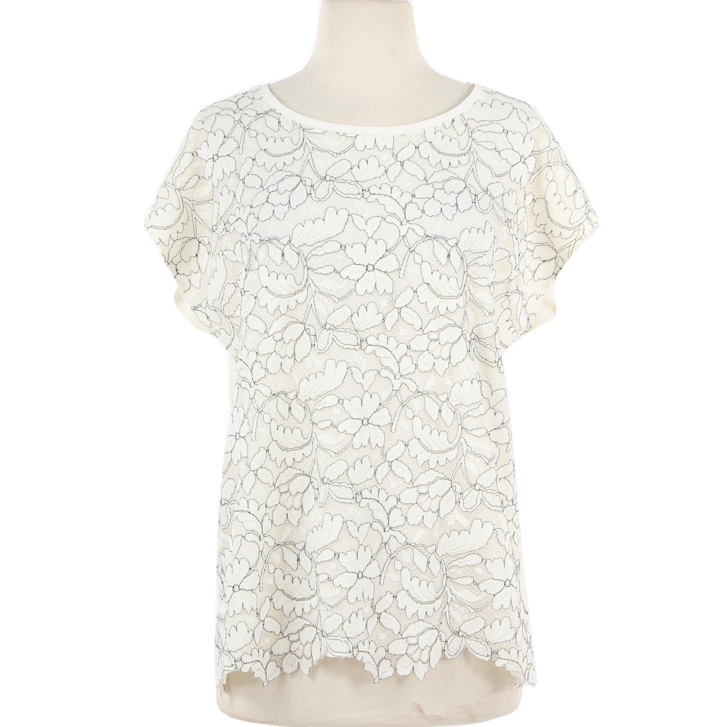 Blue Les Copains Off-White Floral Lace Top
