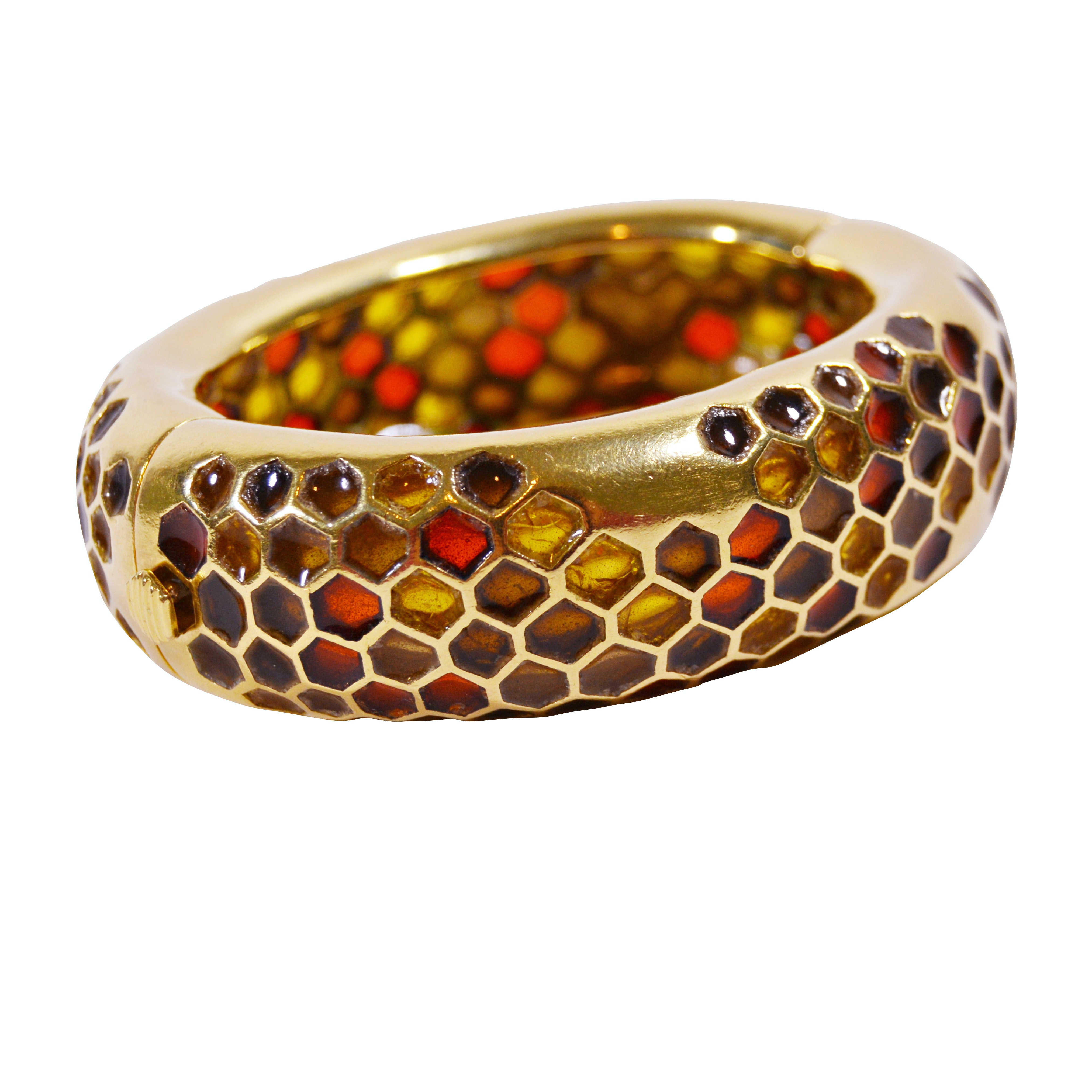 Angela Cummings 18K Gold Honeycomb Plique-à-jour Bangle