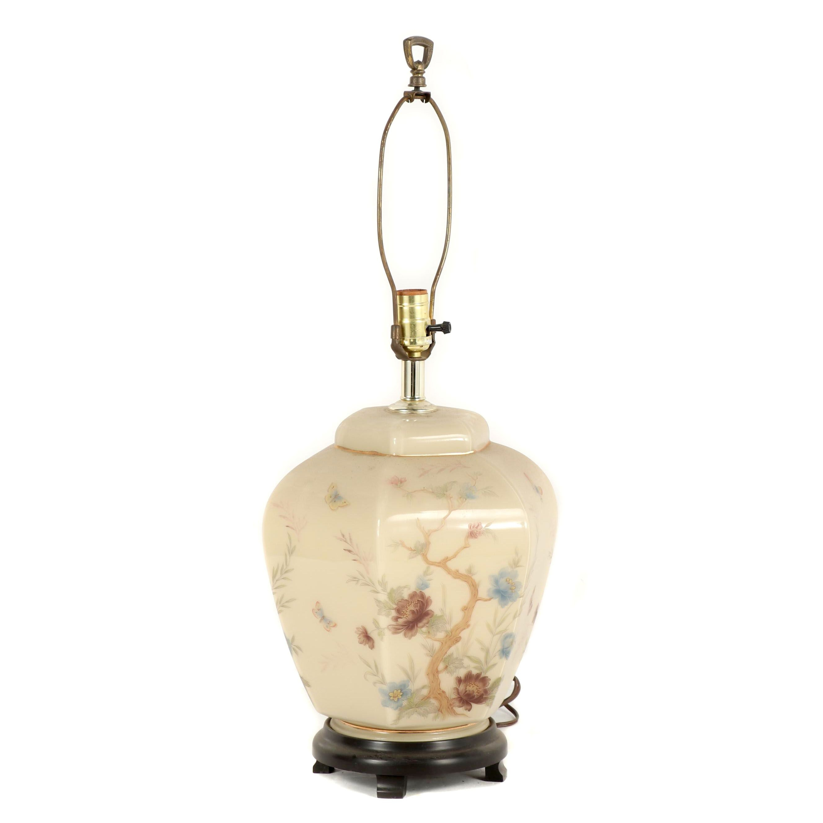 Chinese Ginger Jar Style Glass Table Lamp, Late 20th Century