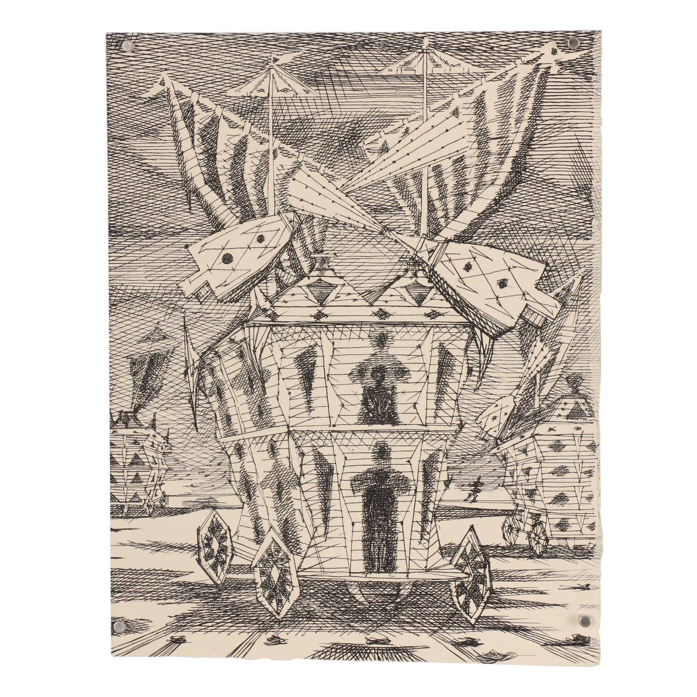 Lucien Coutaud Surrealist Etching