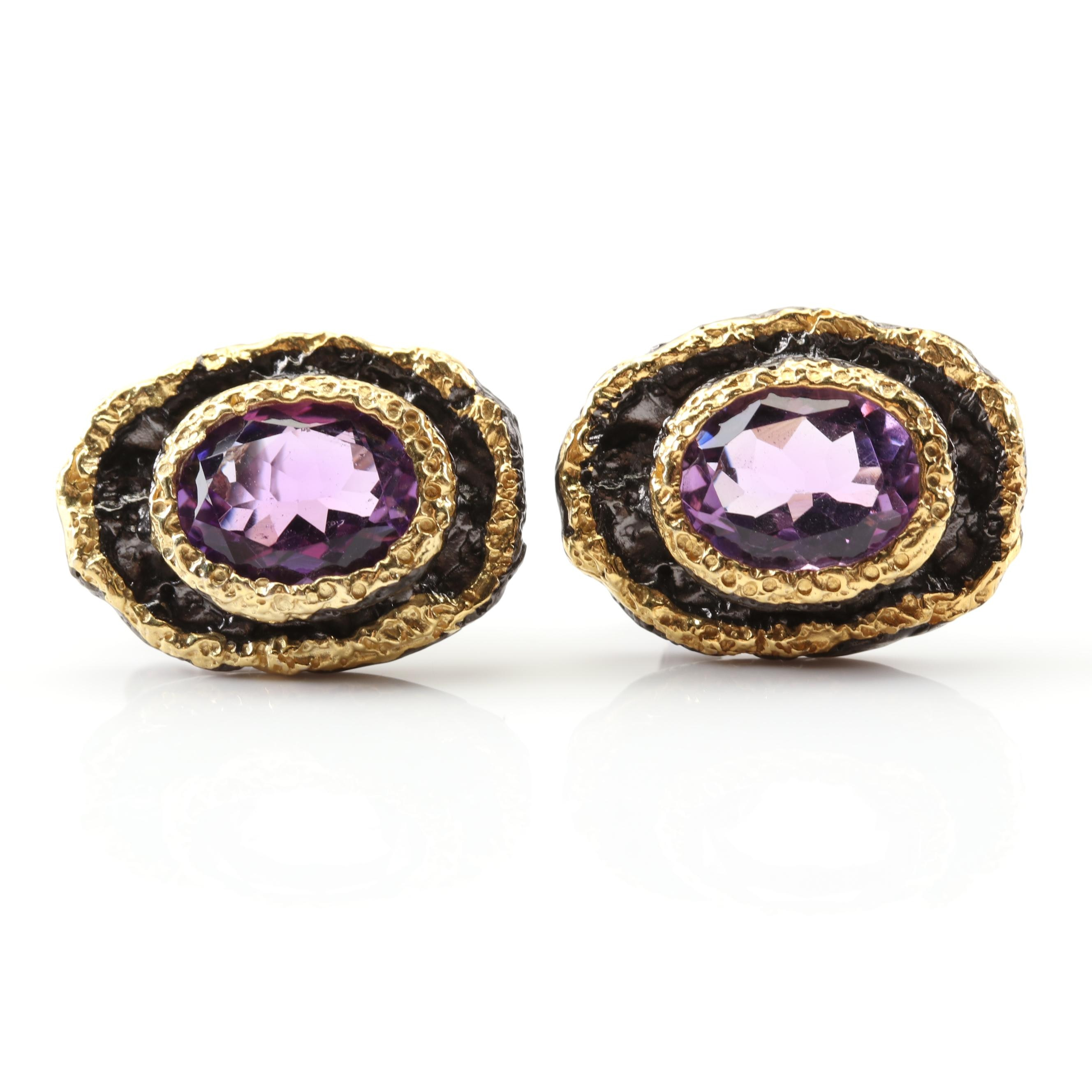 Sterling Silver 3.30 CTW Amethyst Earrings with Gold Wash Accents