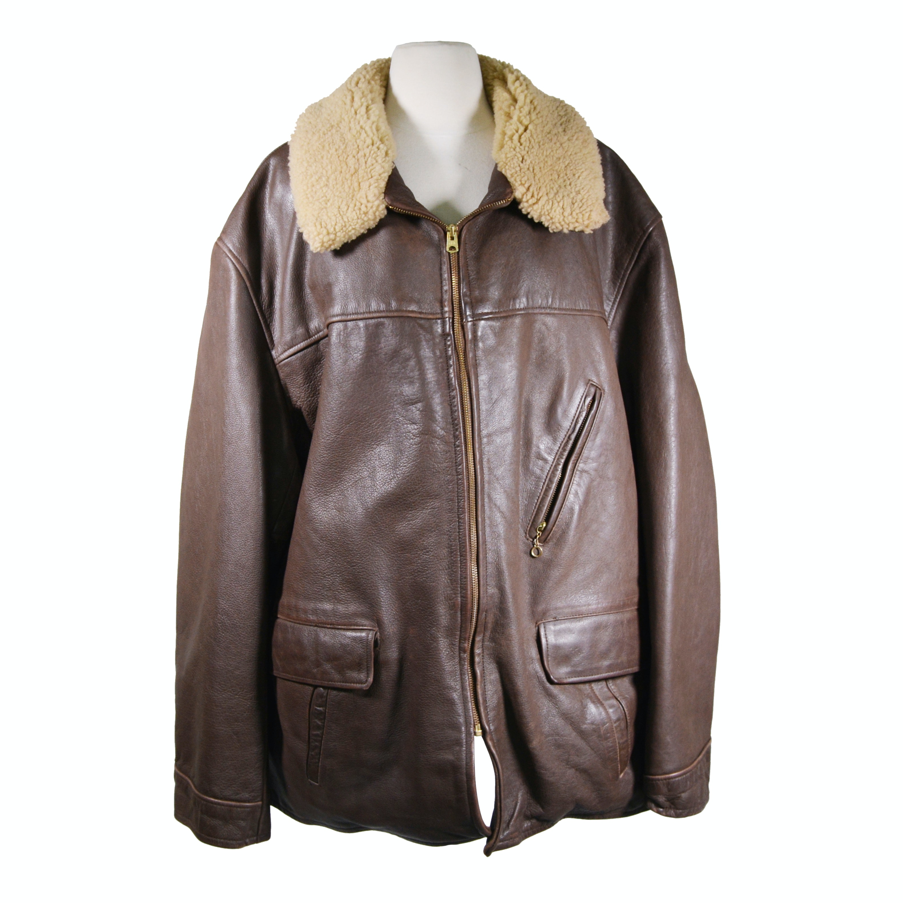 Men's Ralph Lauren Leather Coat with Shearling Collar