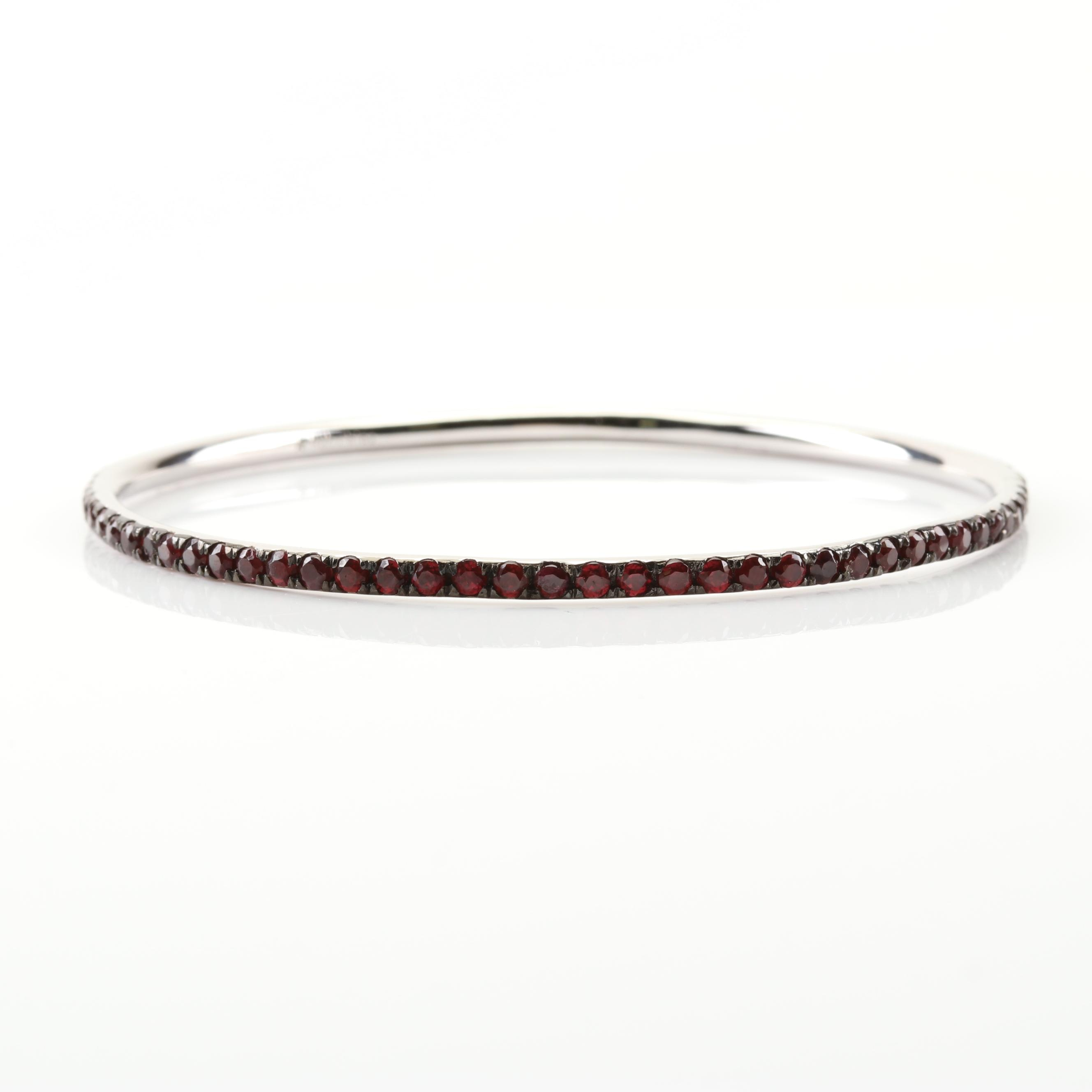 Sterling Silver 6.16 CTW Garnet Bangle Bracelet