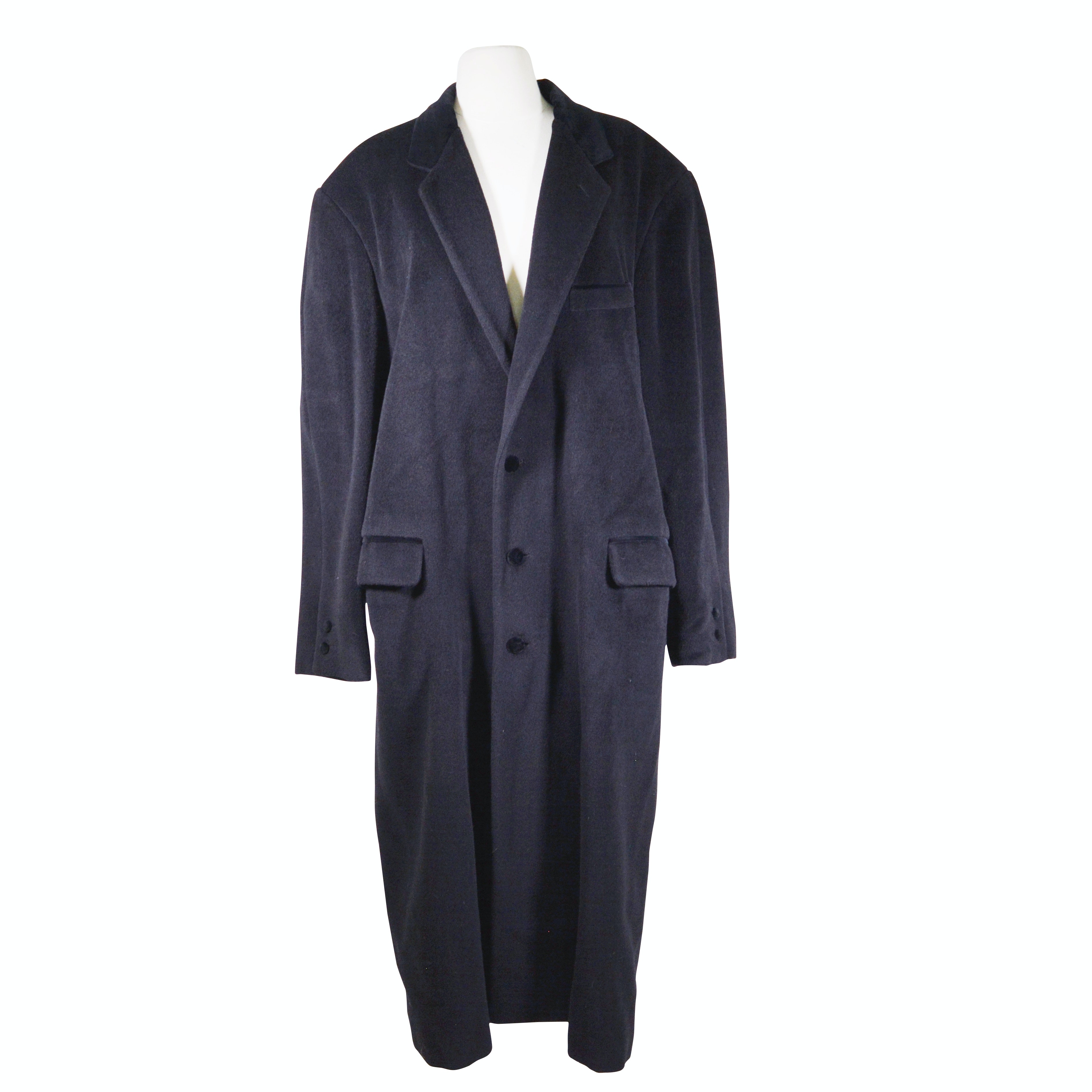 Men's Basile Italian Black Wool Overcoat