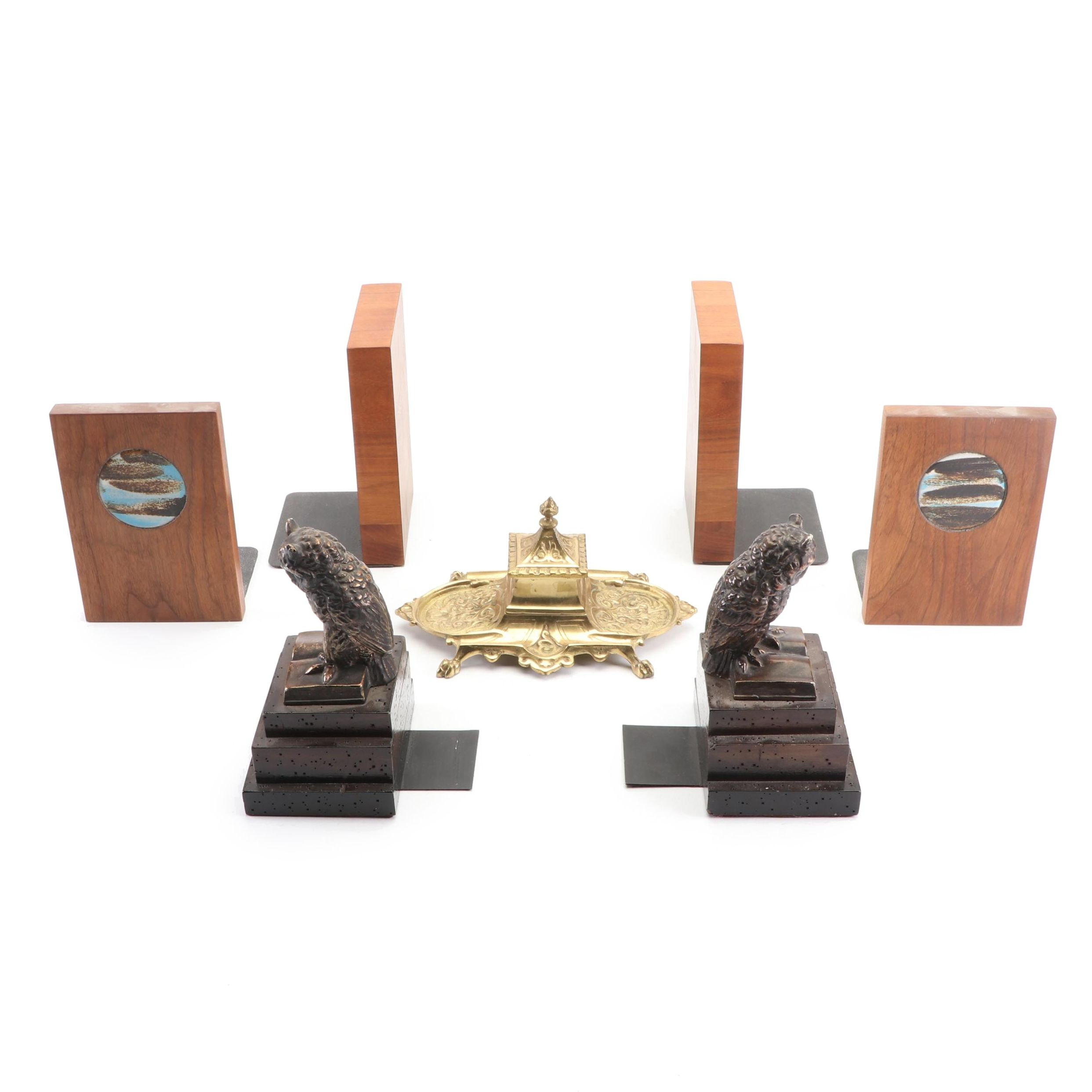Wooden Bookends and Brass Inkstand