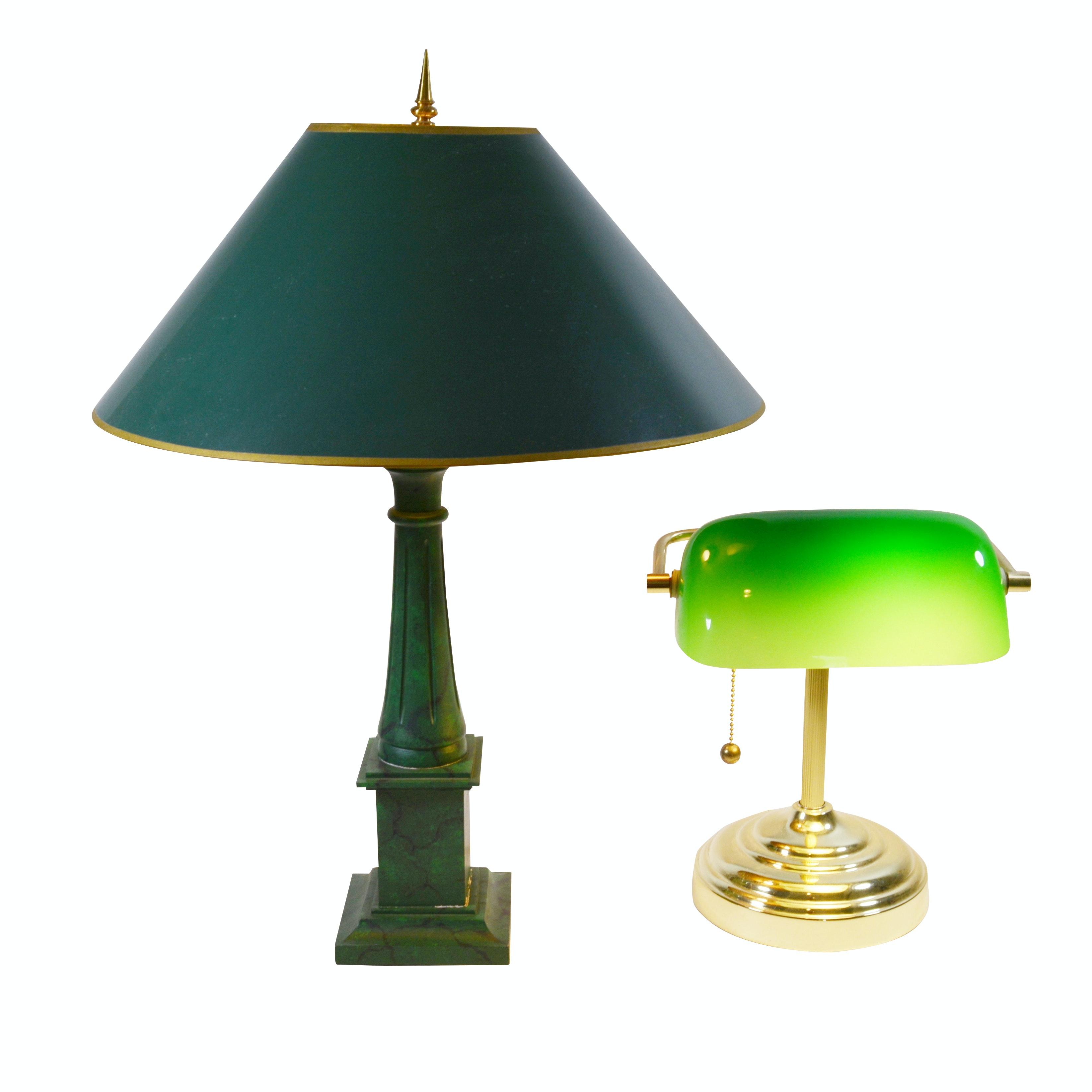 Green Fluted Columnar Table Lamp and Banker's Desk Lamp