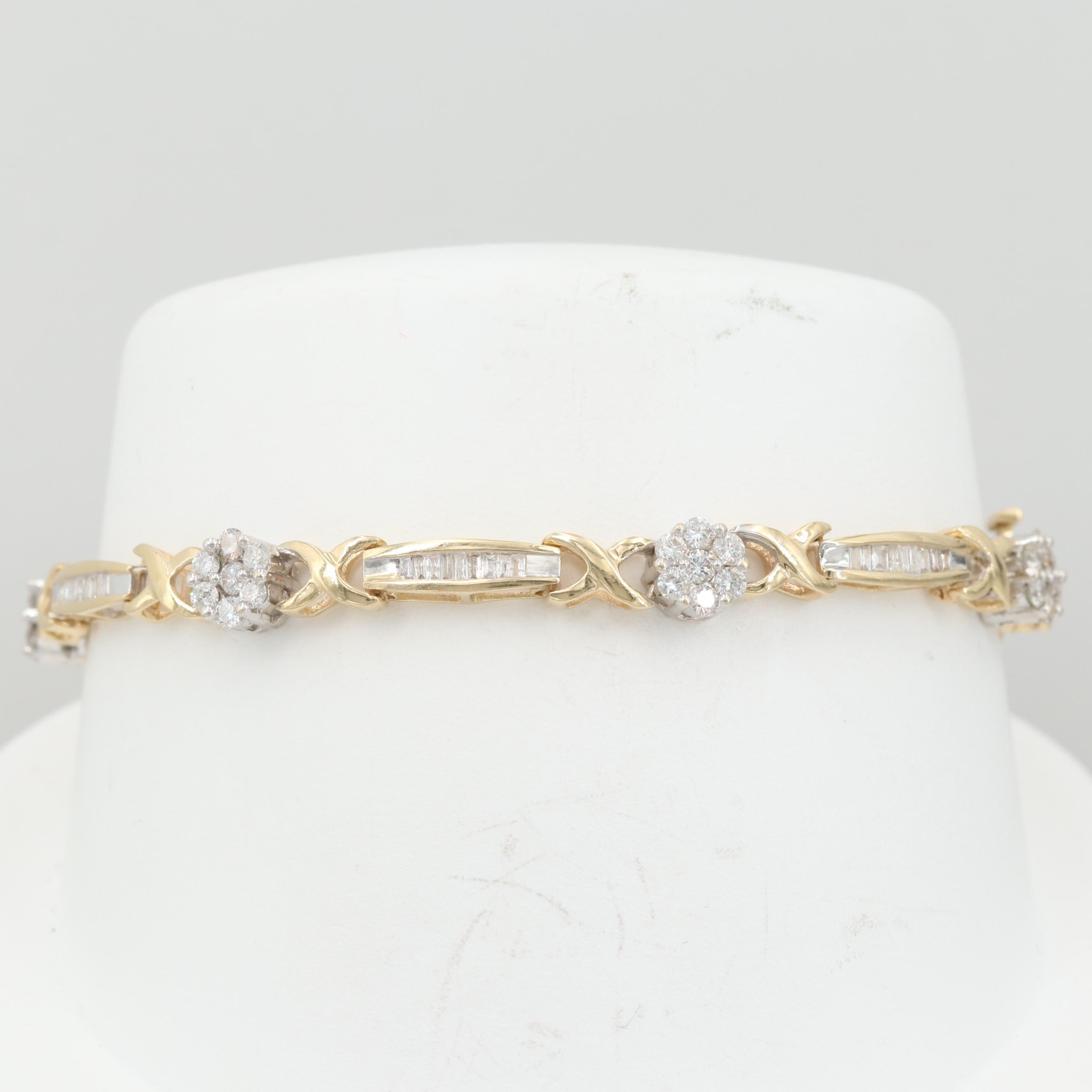 14K Yellow Gold 2.46 CTW Diamond Bracelet with White Gold Accents
