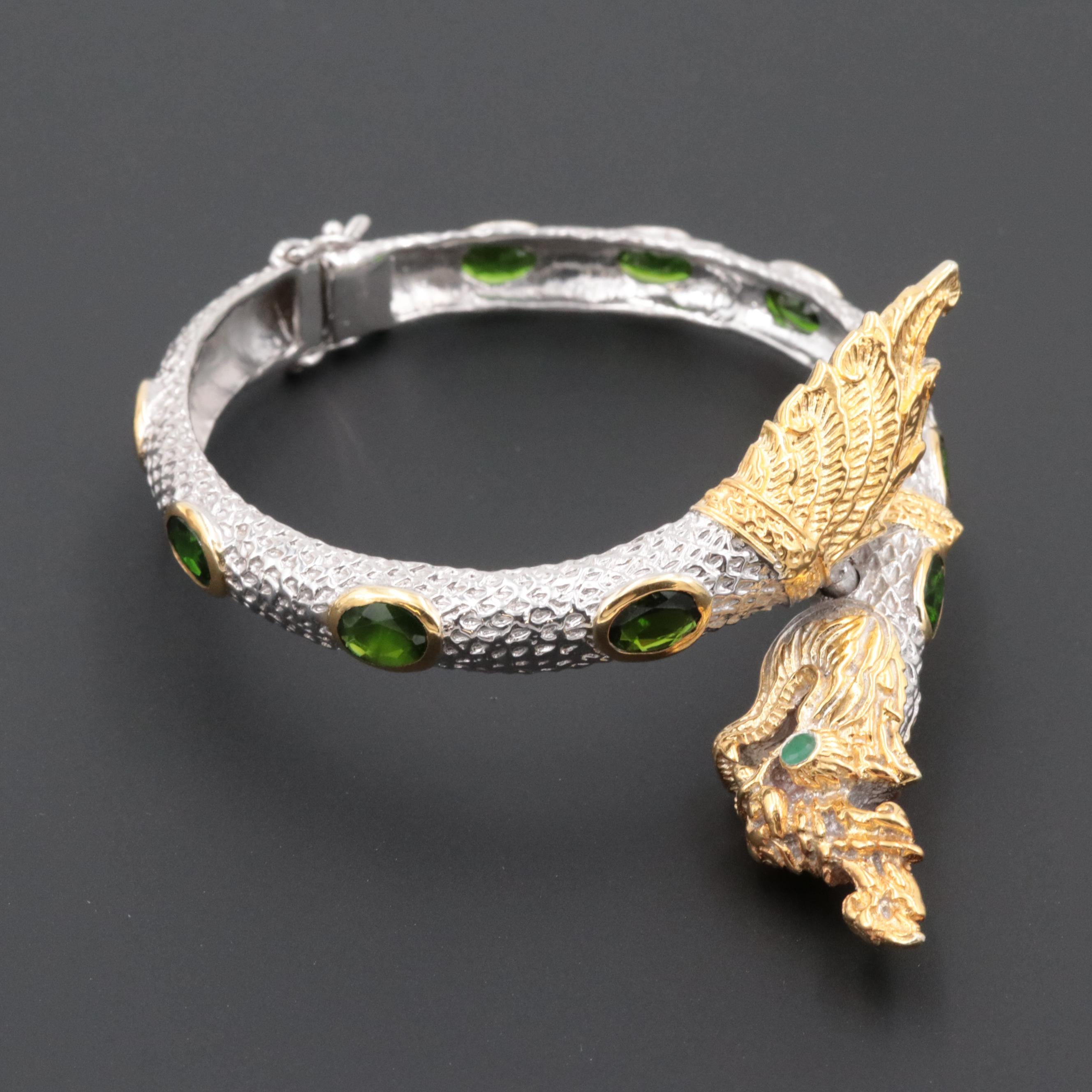 Sterling Silver Diopside and Emerald Dragon Bracelet with Gold Wash Accent