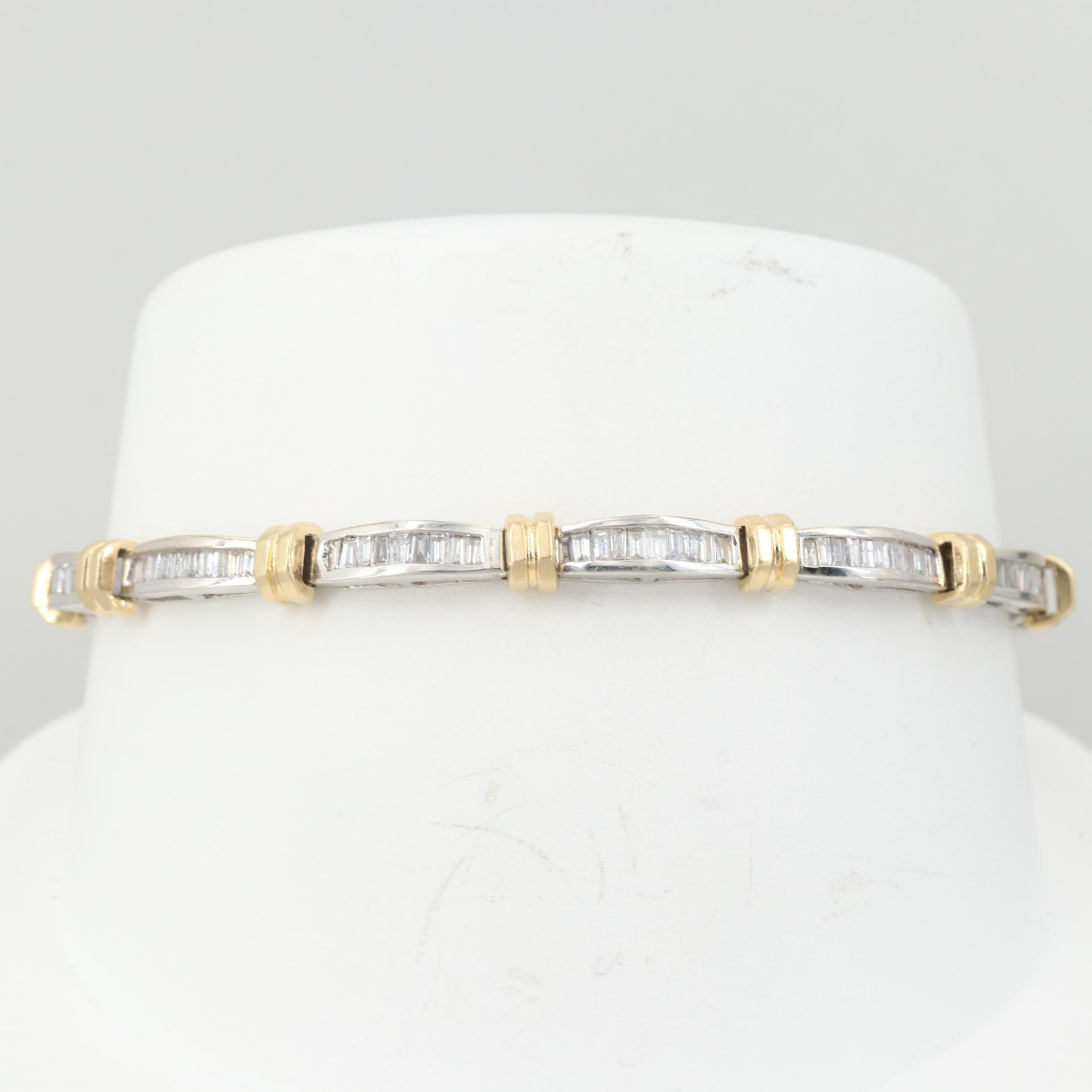 14K White Gold 2.52 CTW Diamond Bracelet with Yellow Gold Accents