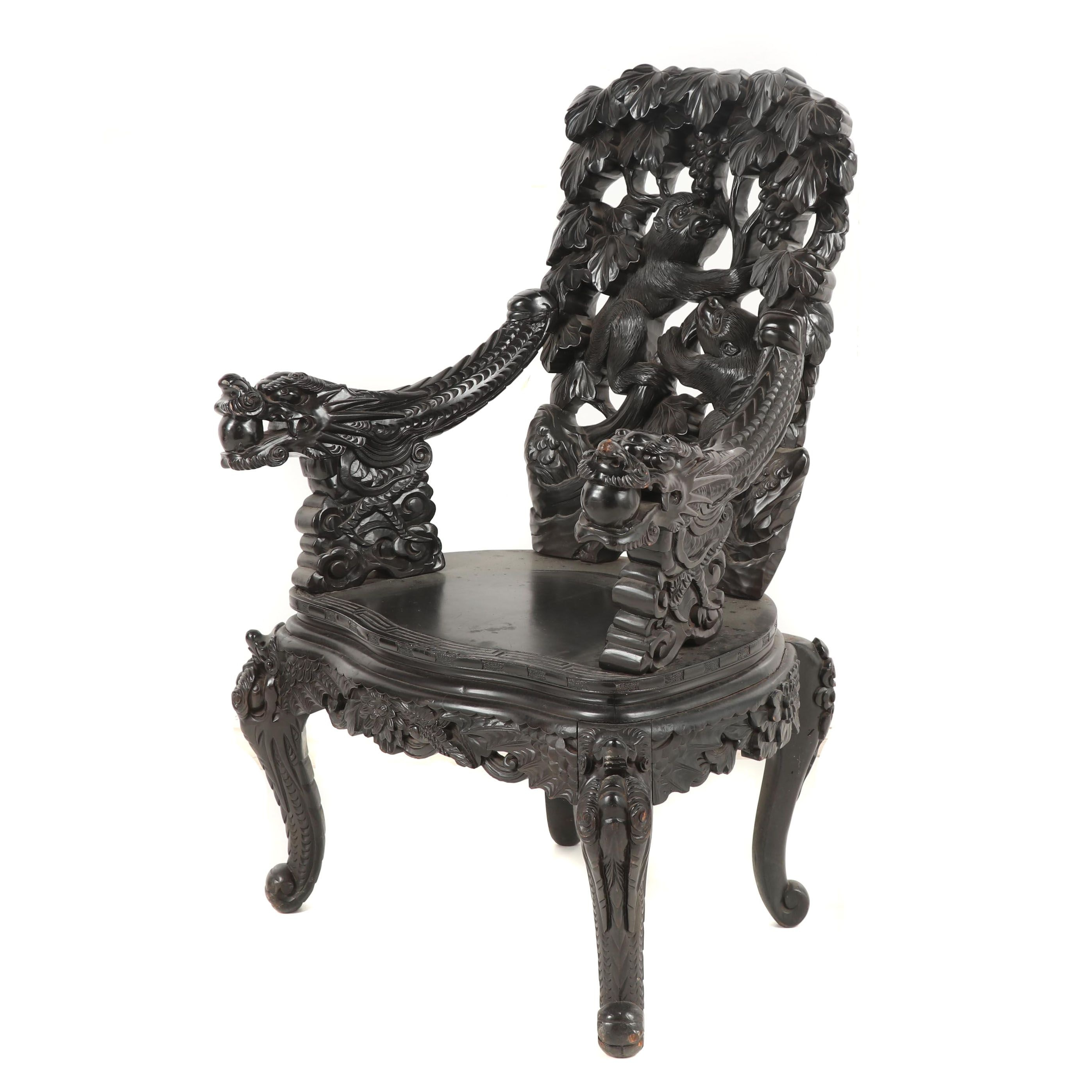 Chinese Carved Wood Throne Chair