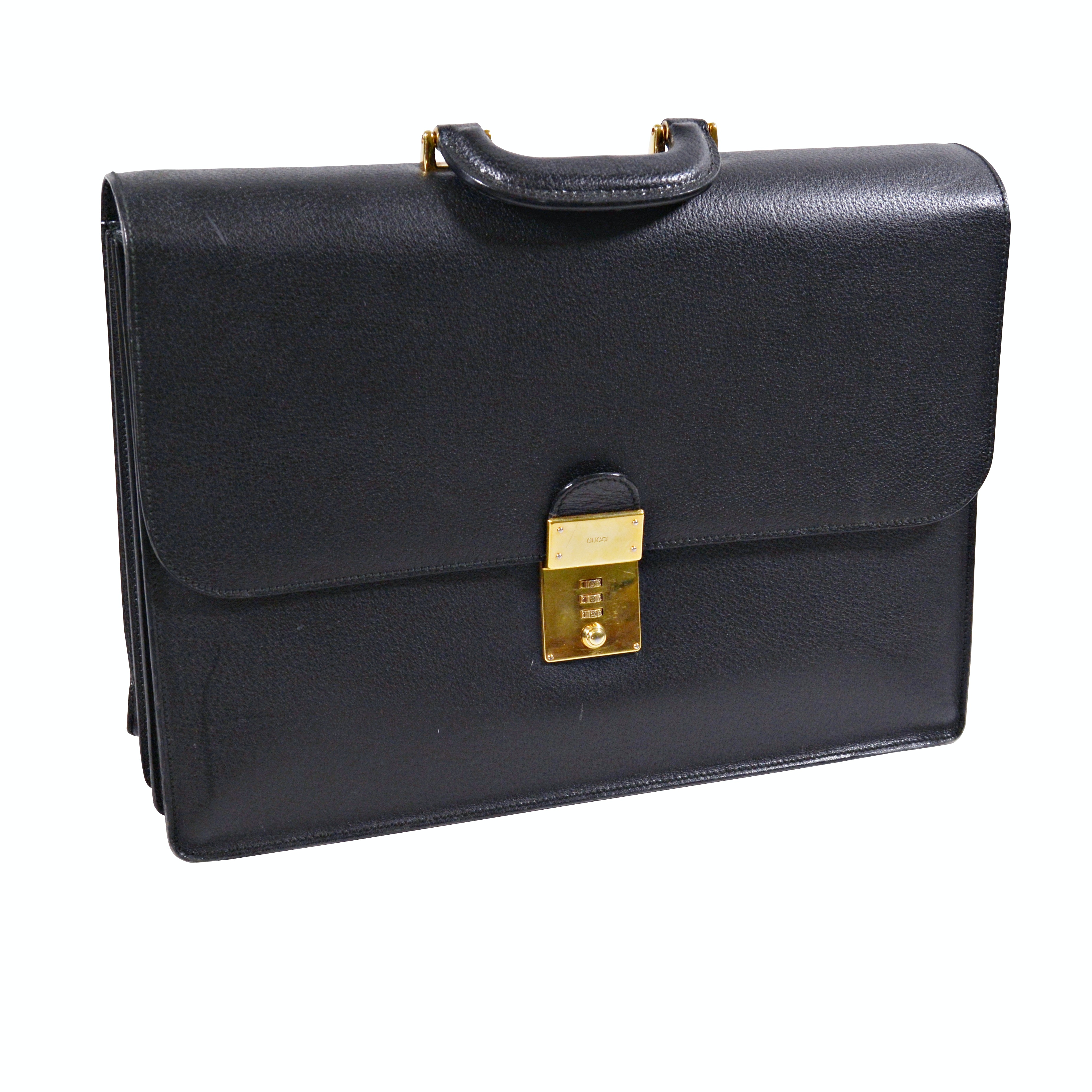 Gucci Black Grained Leather Flap Briefcase