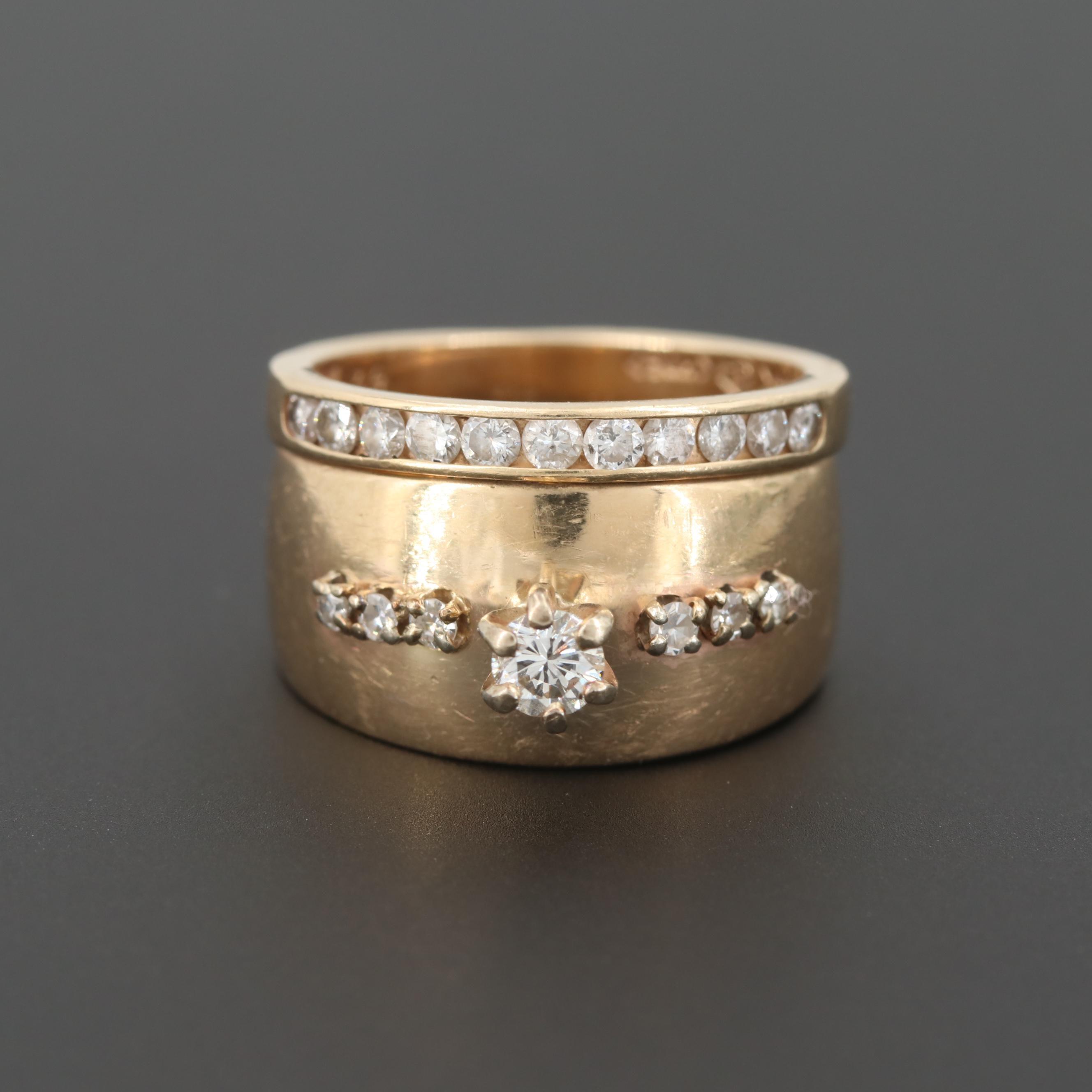 14K Yellow Gold Diamond Ring Set