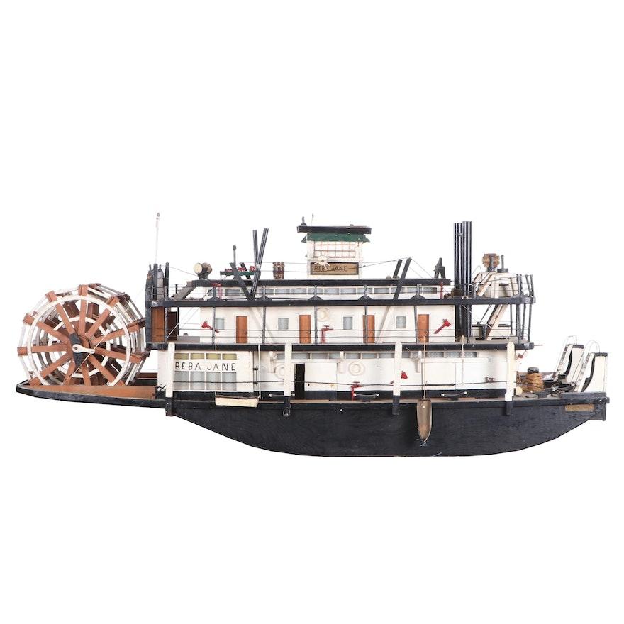 """Large Wooden Model of """"Reba Jane"""" Paddlesteamer"""