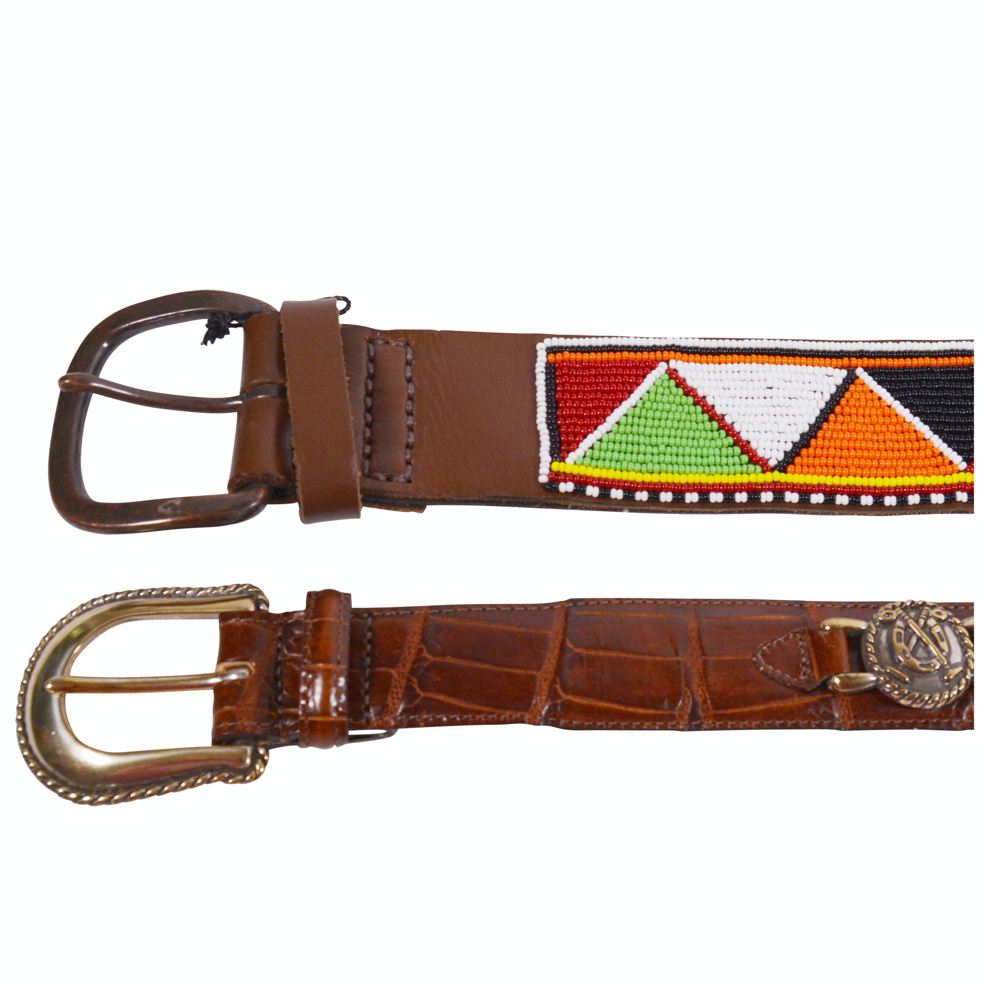 Brighton Embossed Leather Belt and Other Beaded Belt