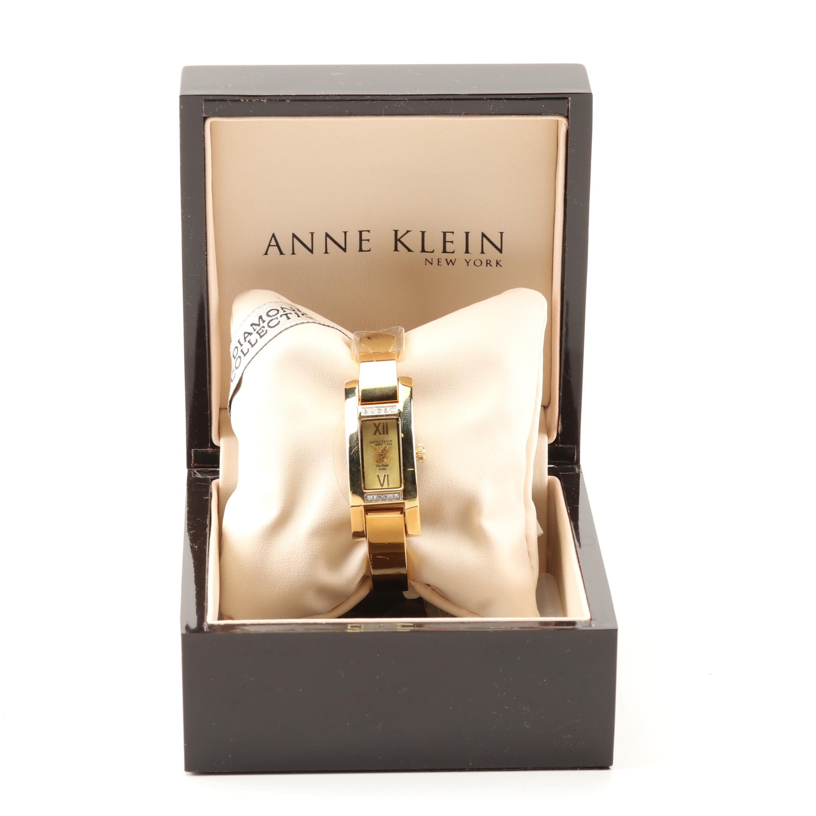 Anne Klein New York Stainless Steel and Diamond Wristwatch