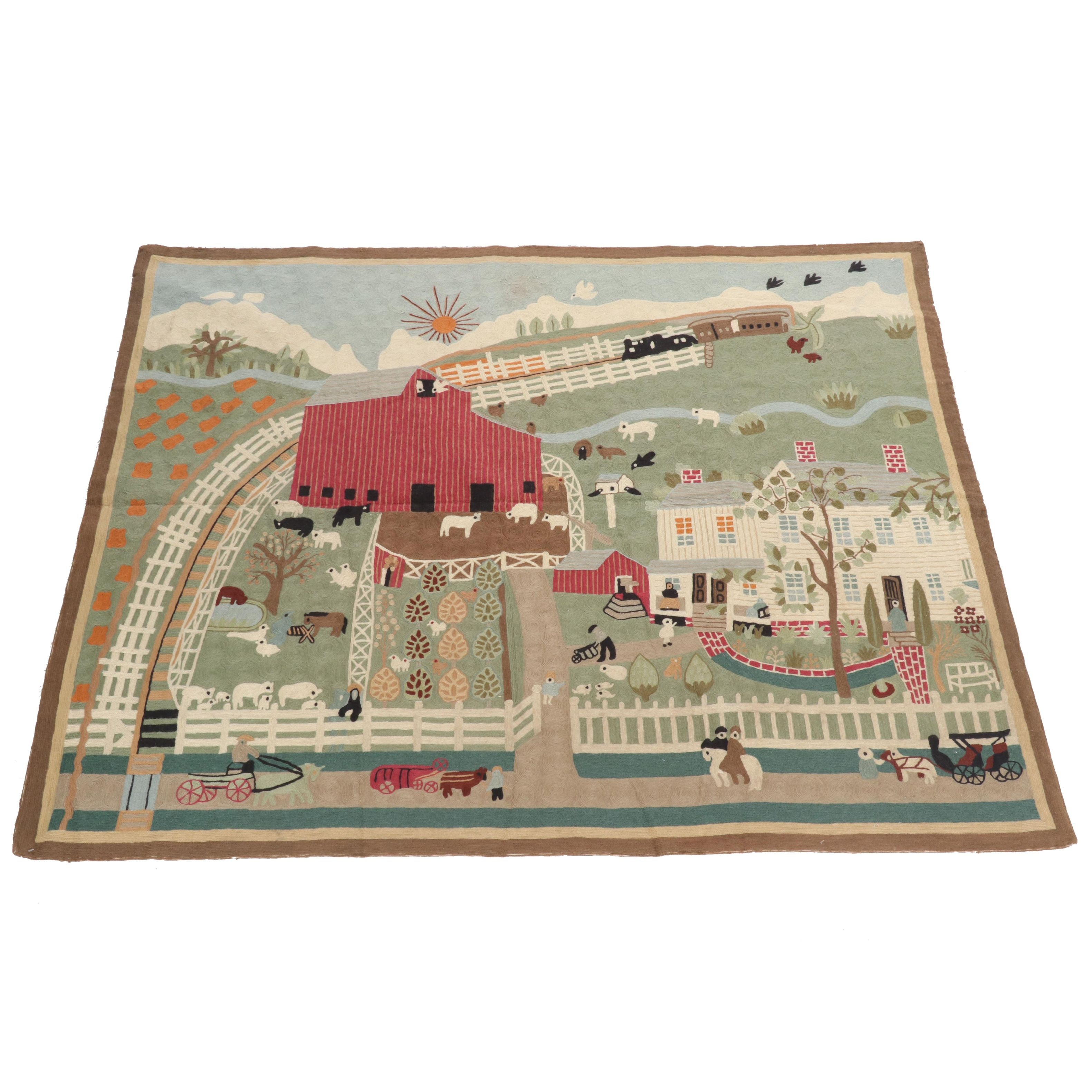 Hand-Hooked Americana Style Indian Wool Pictorial Rug