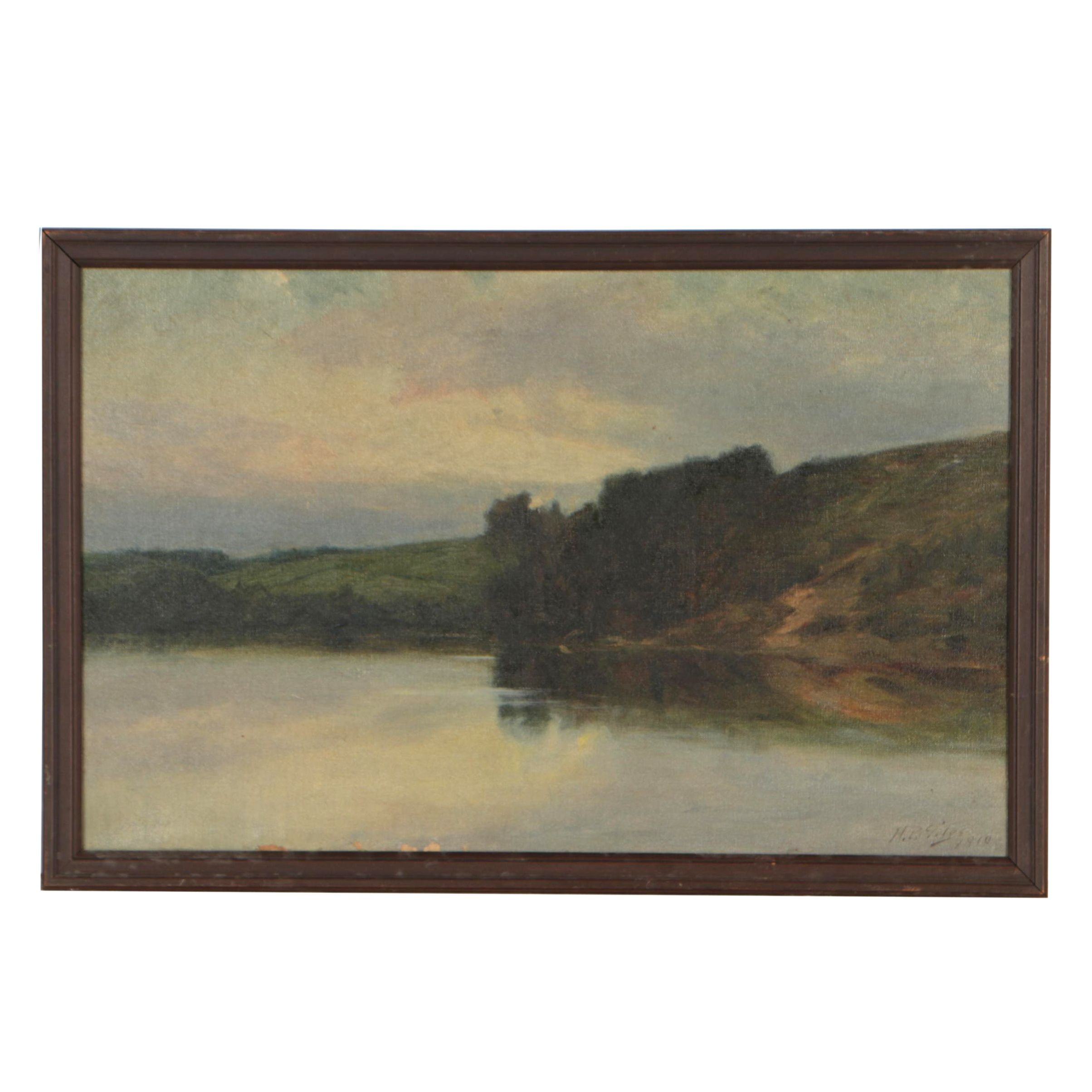 "Horace P. Giles Oil Painting ""The Merrimack River"", 1910"