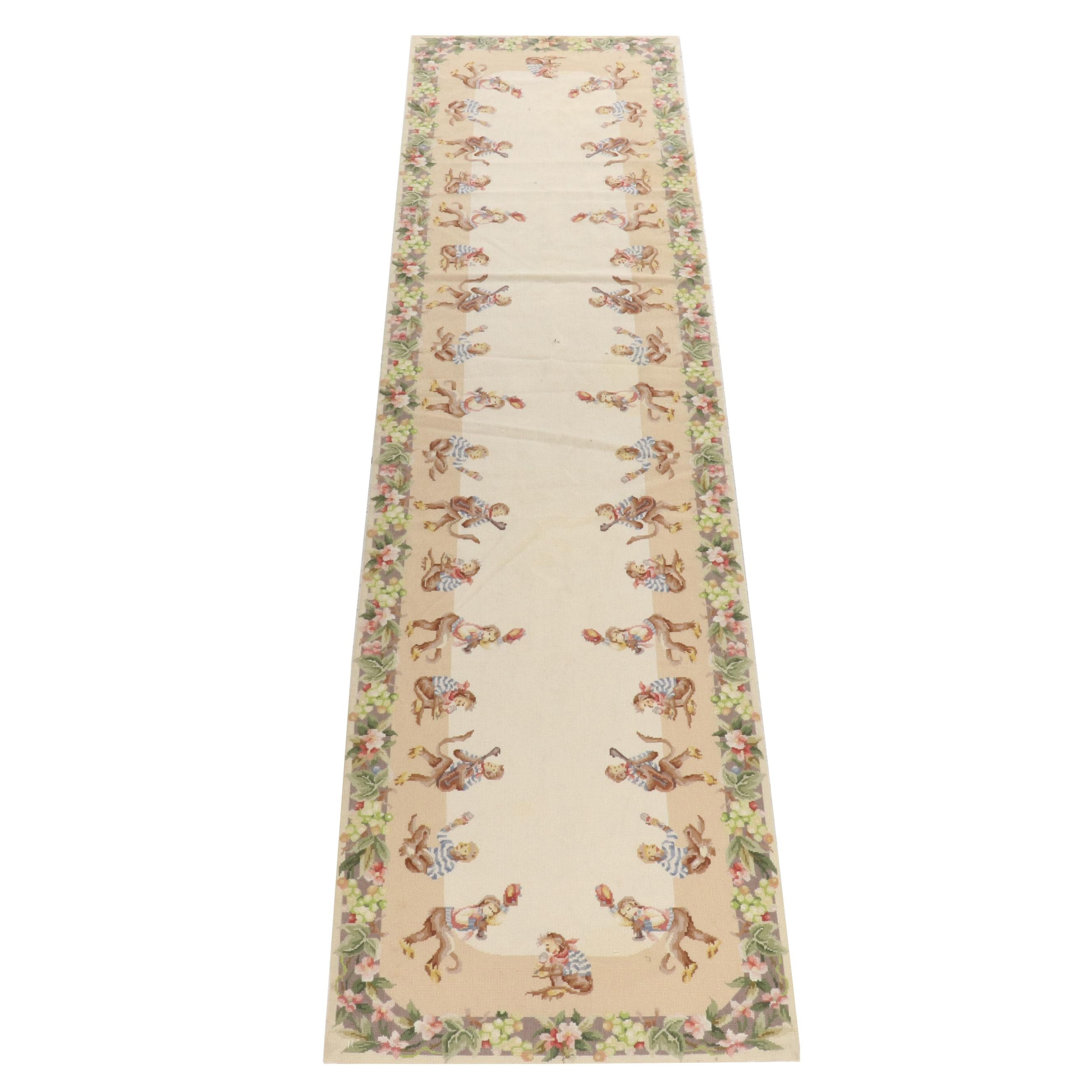 Handwoven Chinese Aubusson-Style Needlepoint Wool Carpet Runner