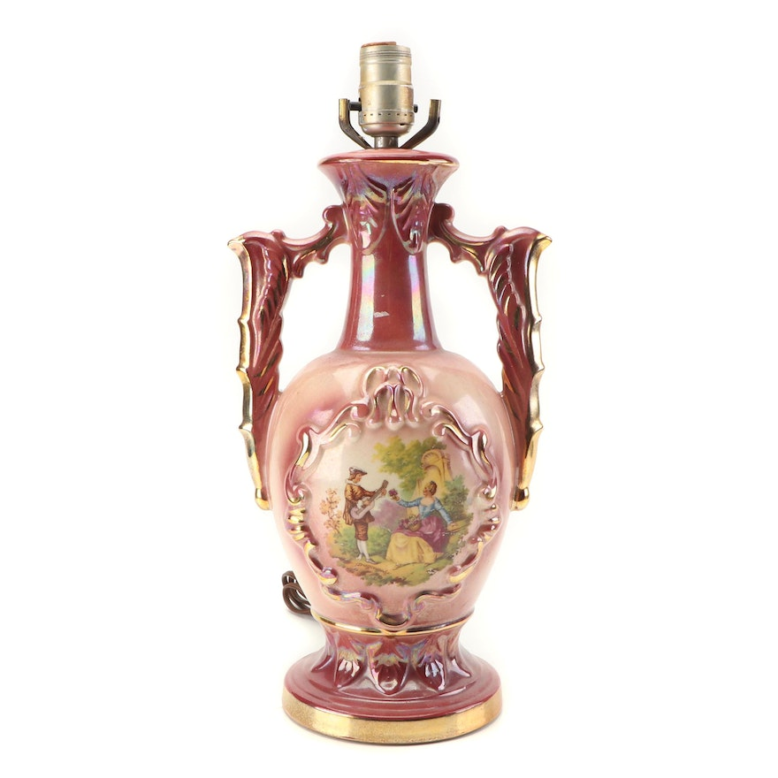 Rococo Style Porcelain Table Lamp with Transfer Print After Fragonard