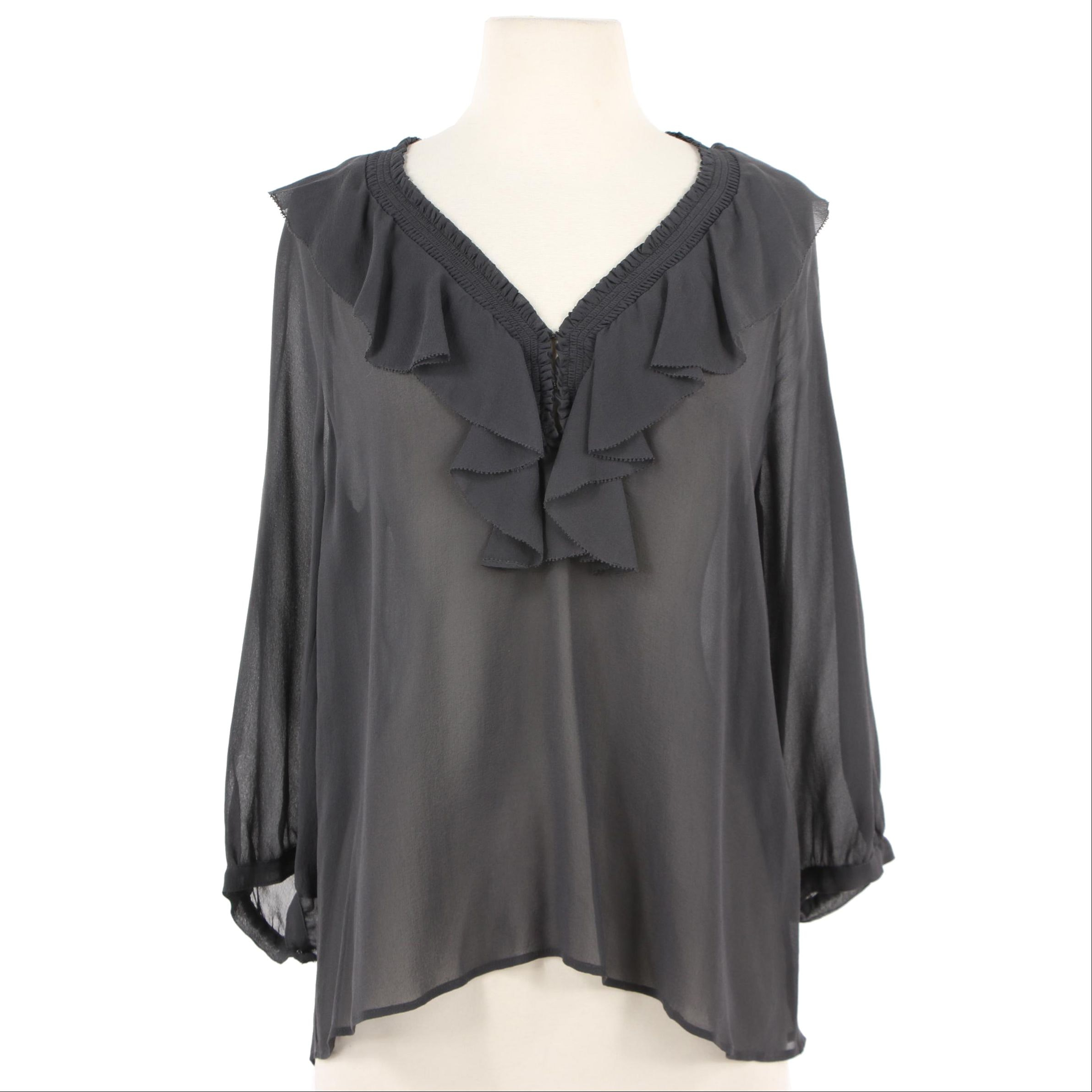 Joie Grey Silk Ruffled V-Neck Blouse