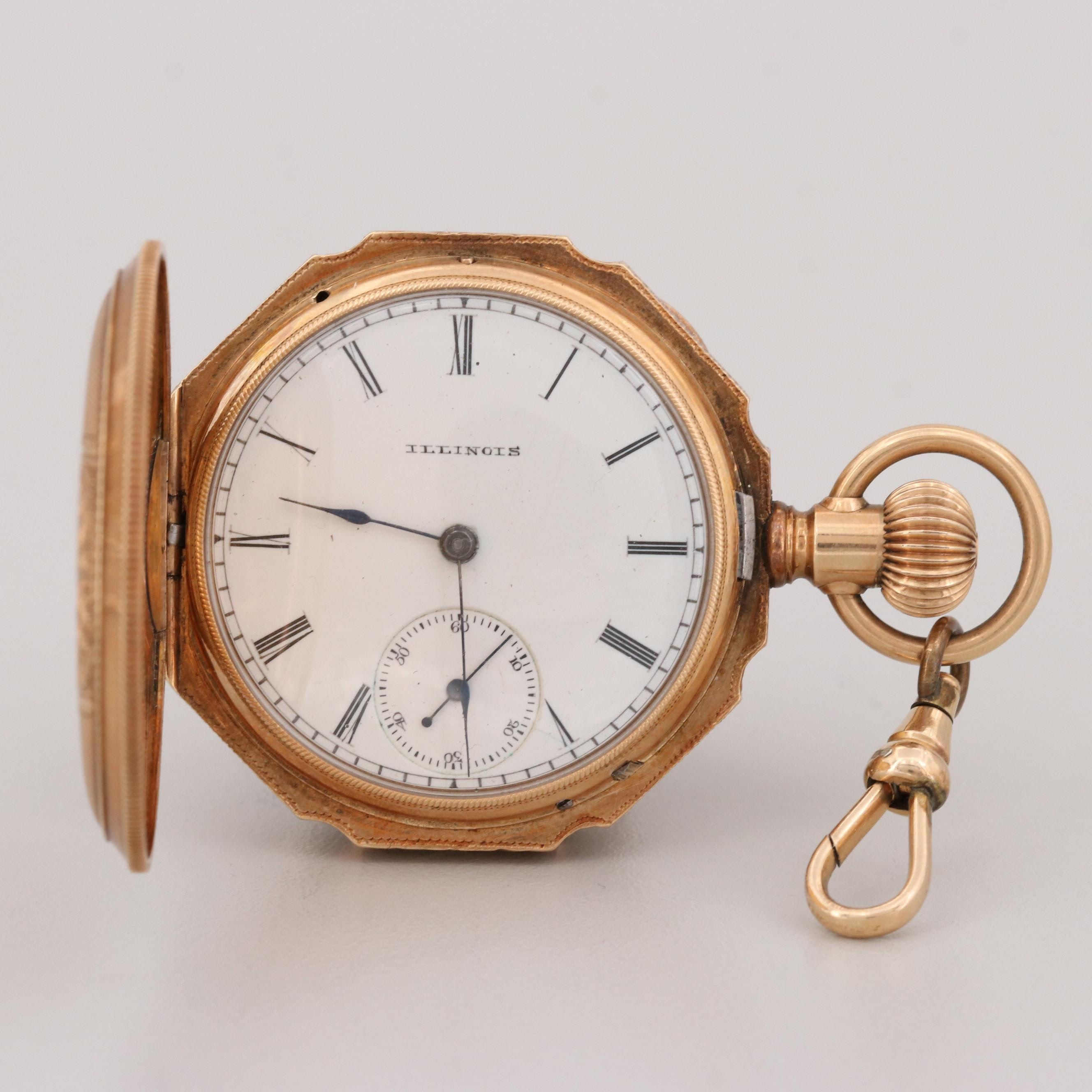 Illinois 14K Yellow Gold Pocket Watch, 1889