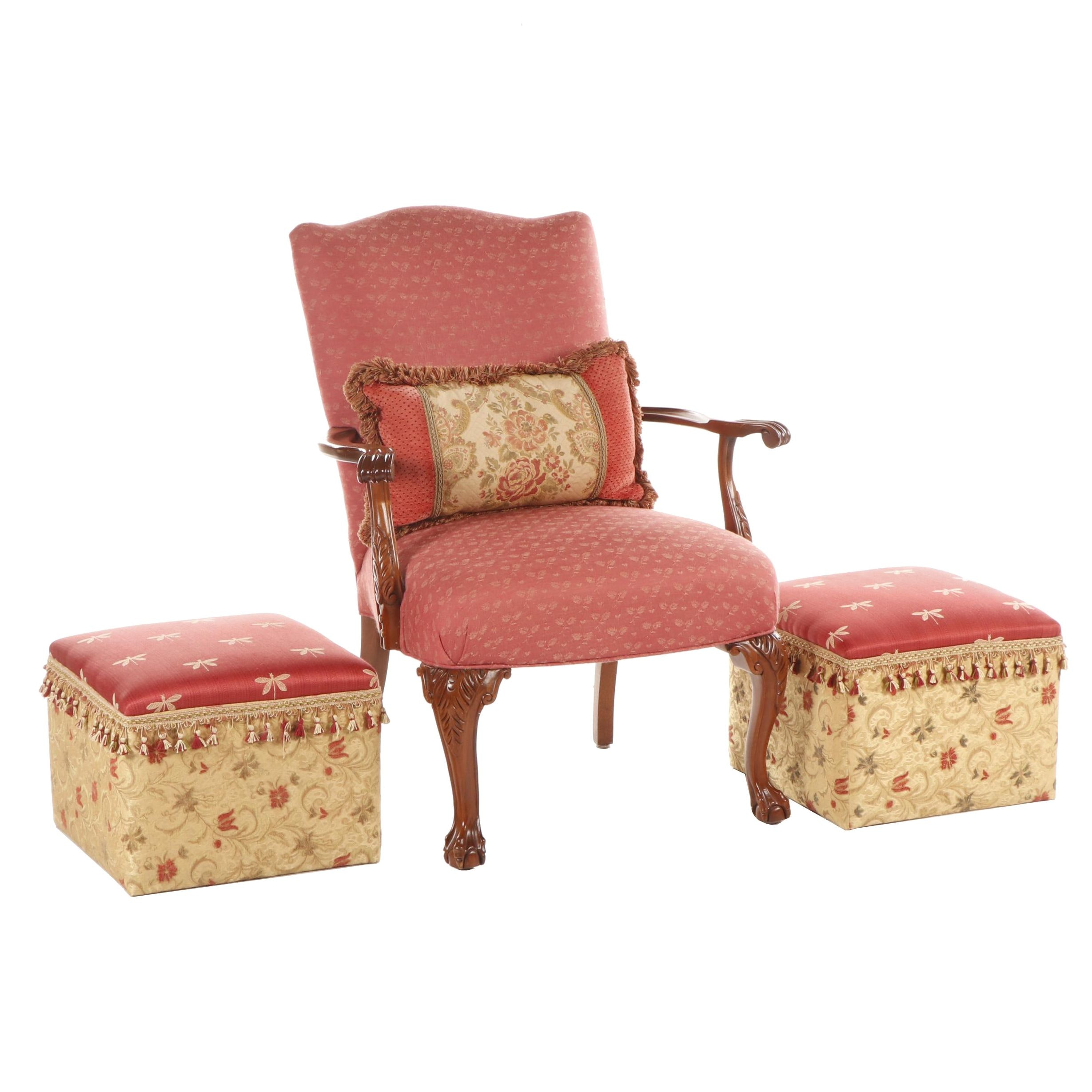 Chippendale Style Ball and Claw Wooden Armchair with Red Upholstery and Ottomans