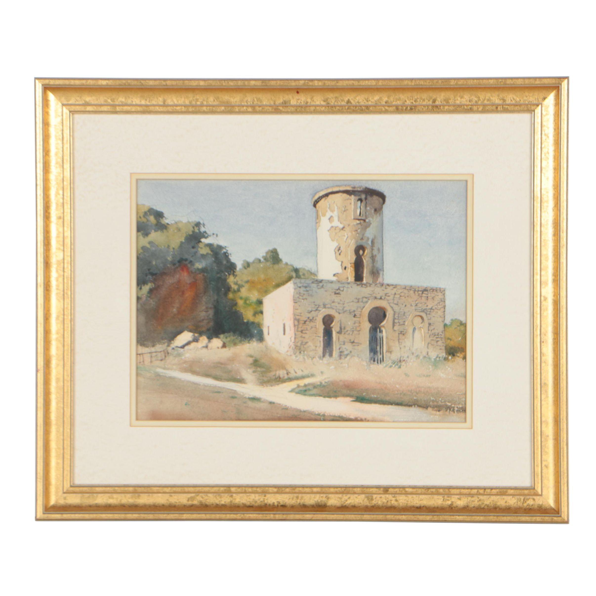 Edmond J. Fitzgerald Architectural Landscape Watercolor Painting
