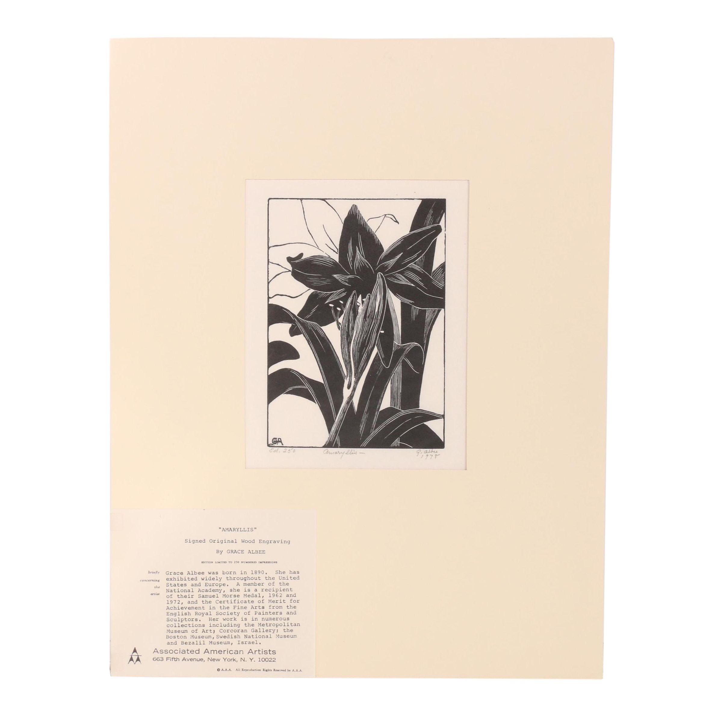 "Grace Albee 1978 Wood Engraving ""Amaryllis"""