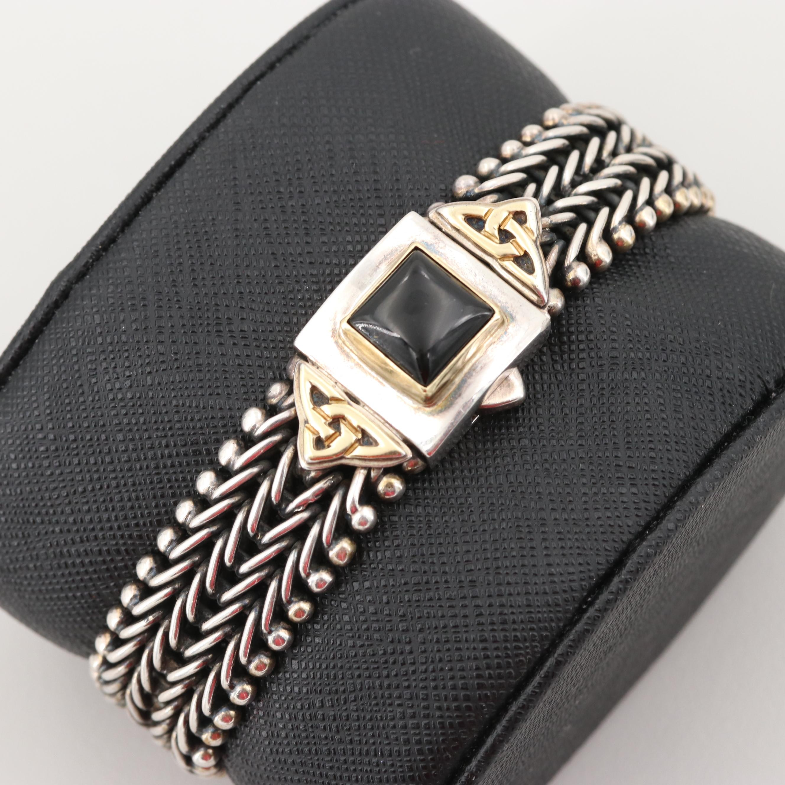 Sterling Silver Black Onyx Chain Link Bracelet with 18K Yellow Gold Accents