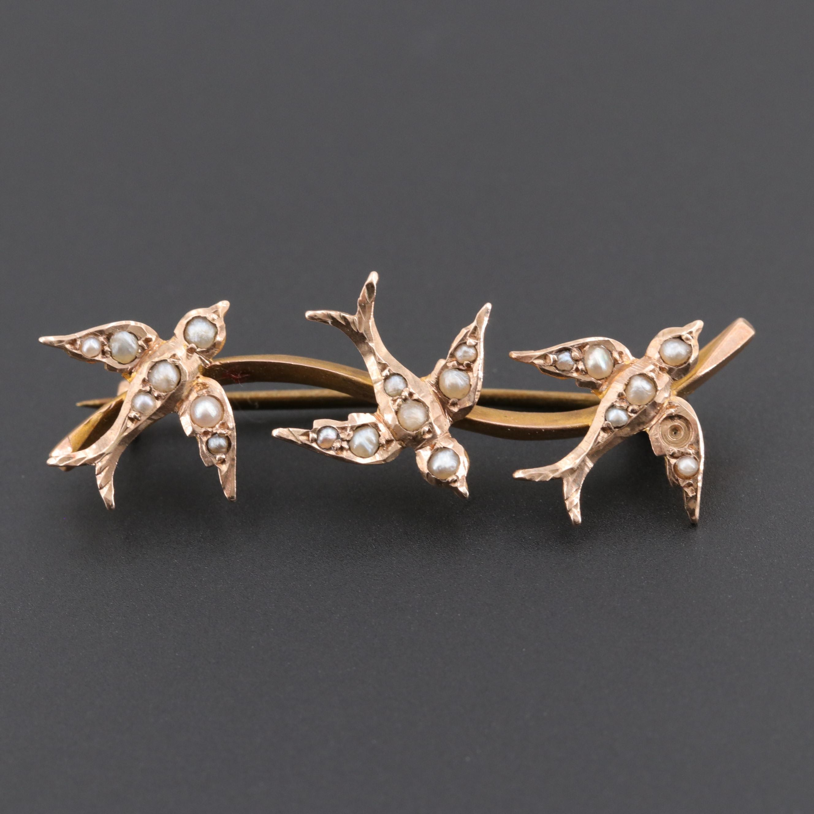 Victorian 9K Yellow Gold Seed Pearl Swallow Brooch