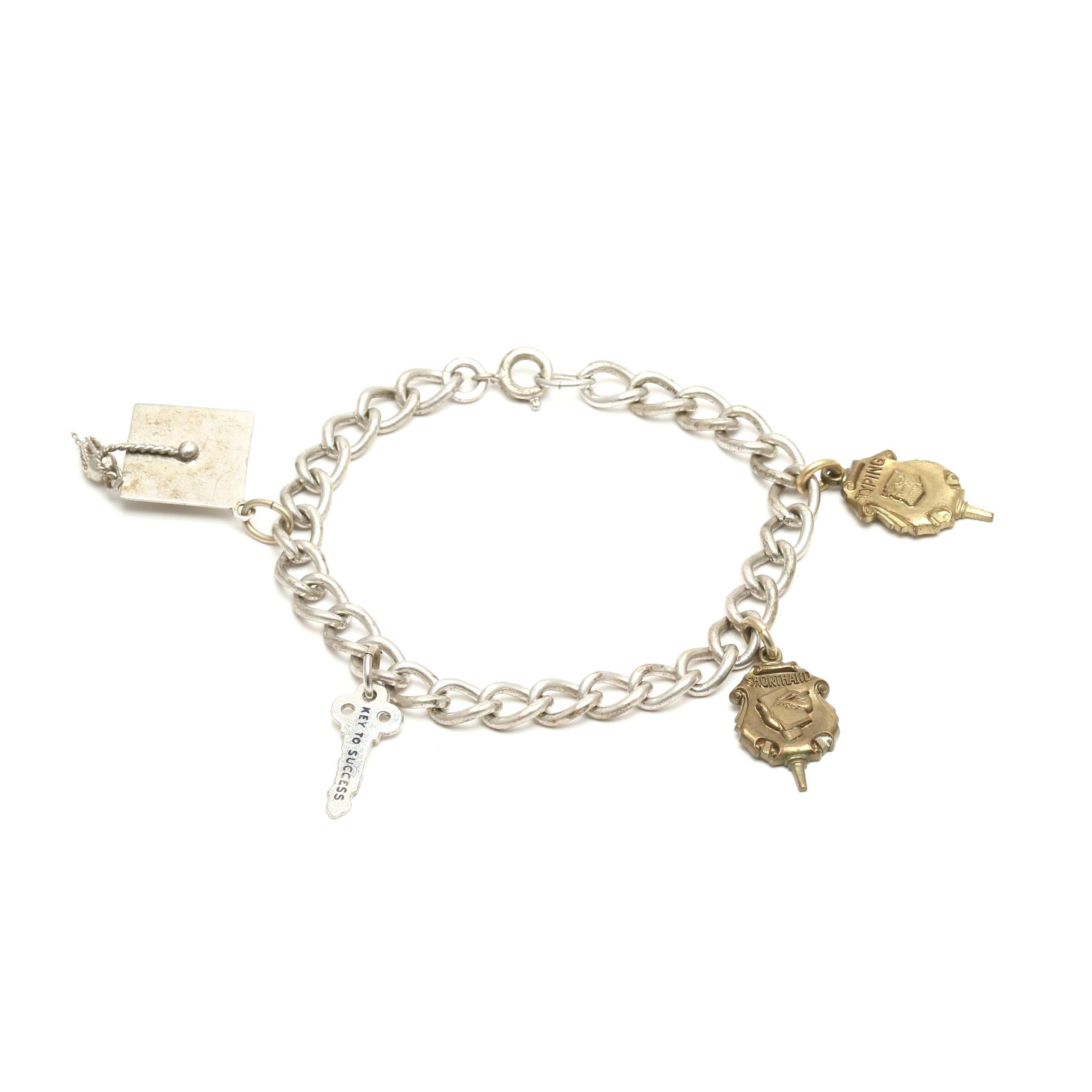 """Vintage Sterling Silver """"Academic"""" Charm Bracelet"""