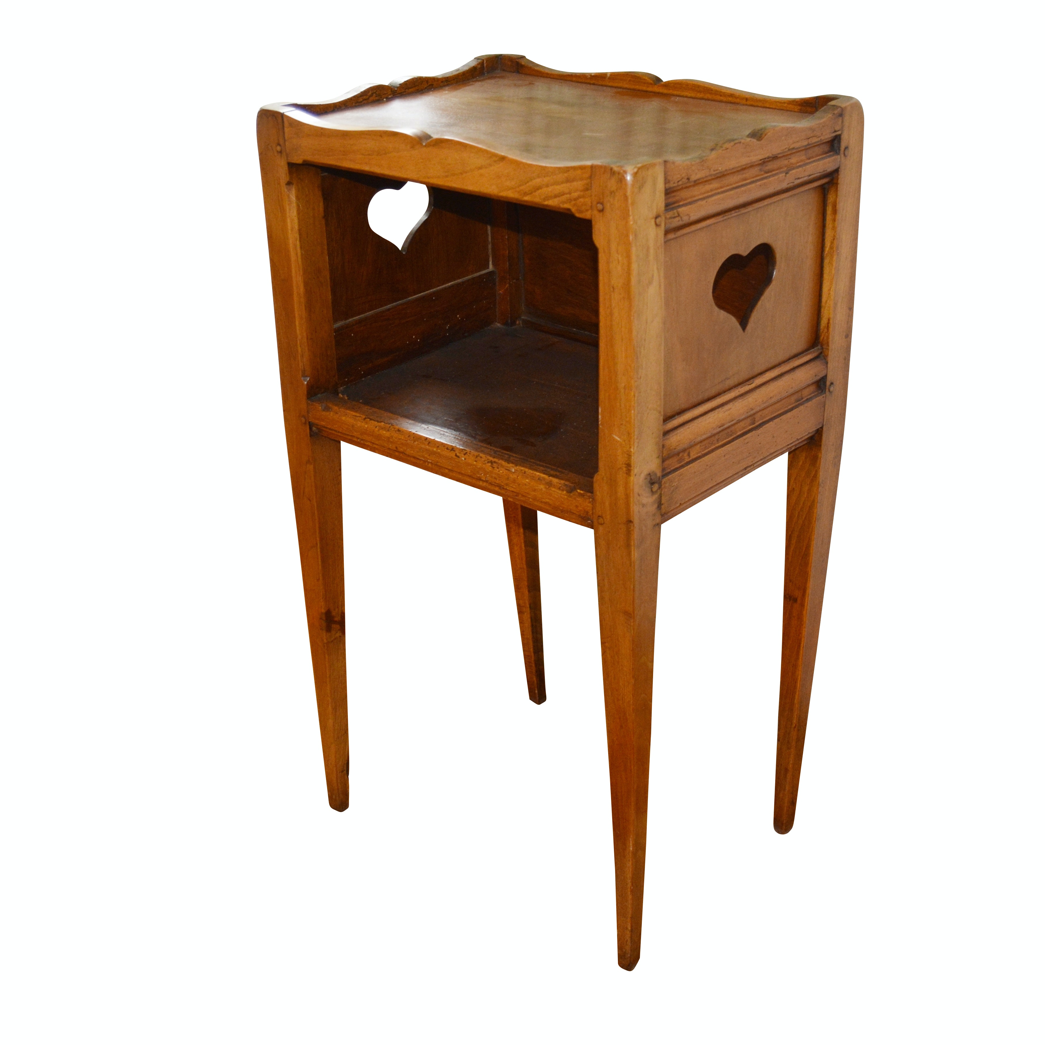 French Country Open Shelf Accent Table, Antique