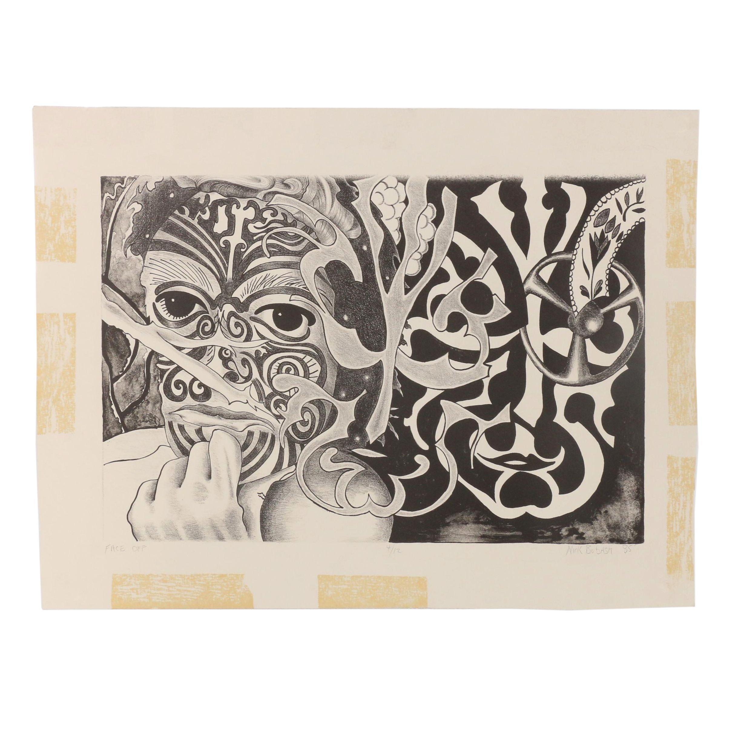 "Nick Bubash 1985 Lithograph ""Face Off"""