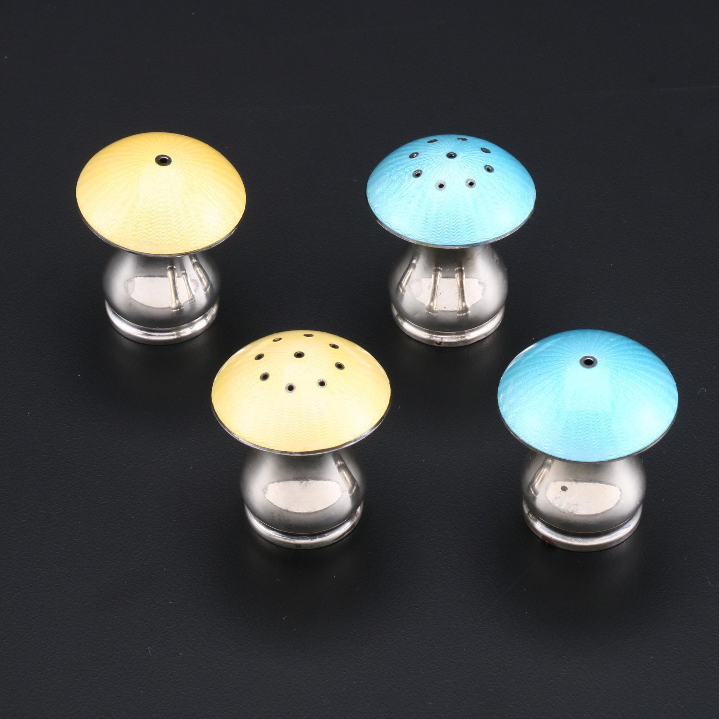 Ela Denmark Sterling Silver Enameled Mushroom Salt and Pepper Shakers
