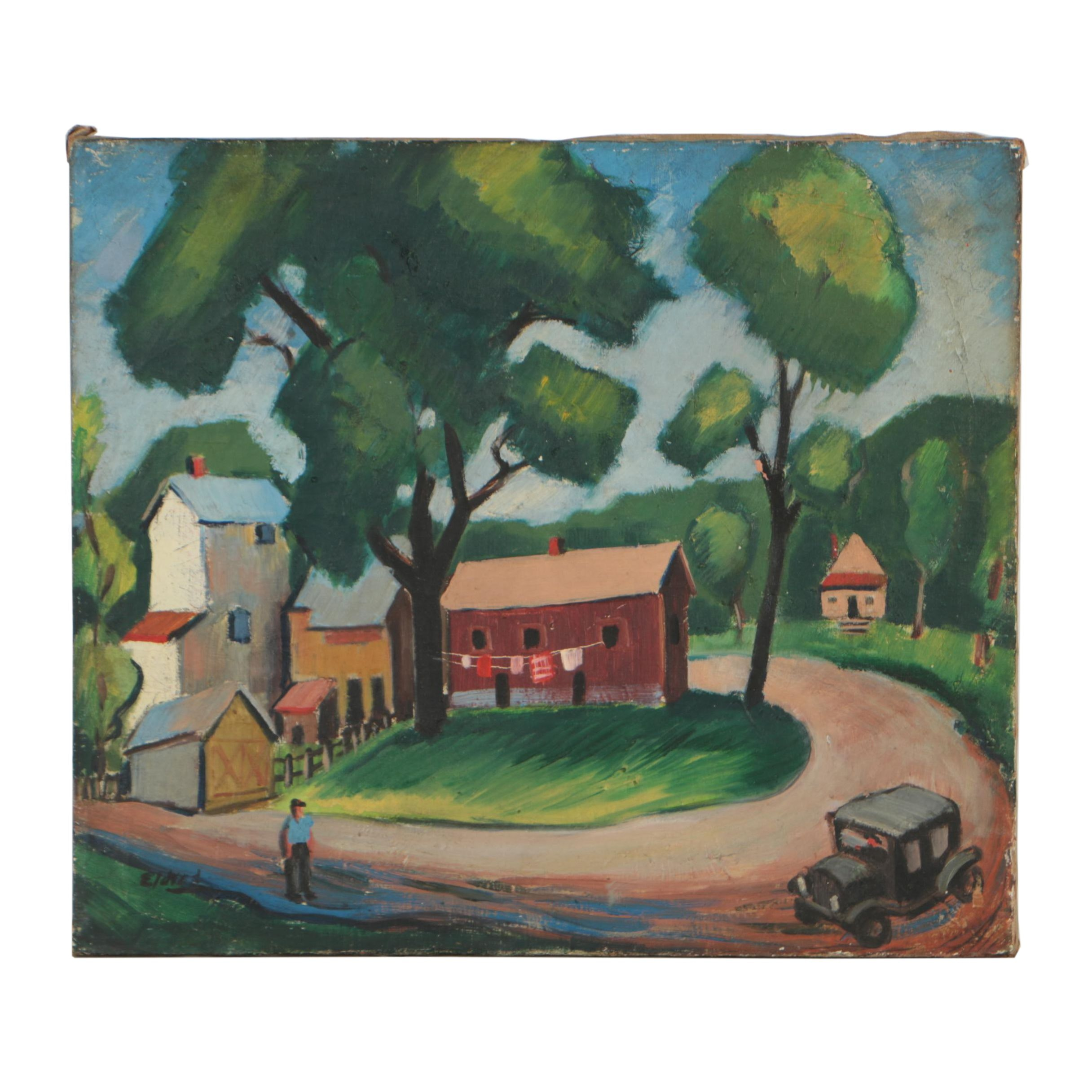 Thomas Brownell Eldred Oil Painting of a Town Scene
