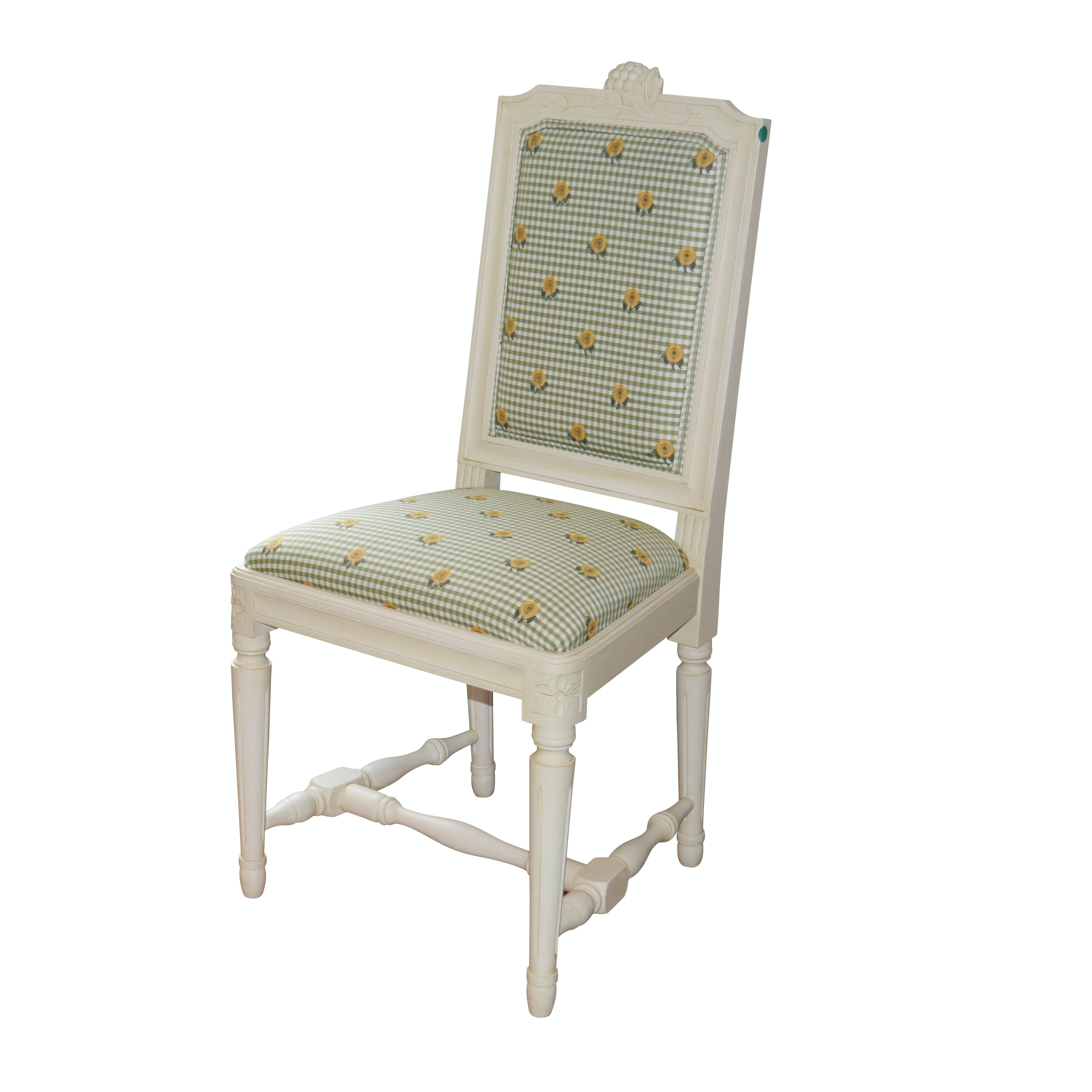 Green Checkered Upholstered Painted Side Chair, Early 20th Century