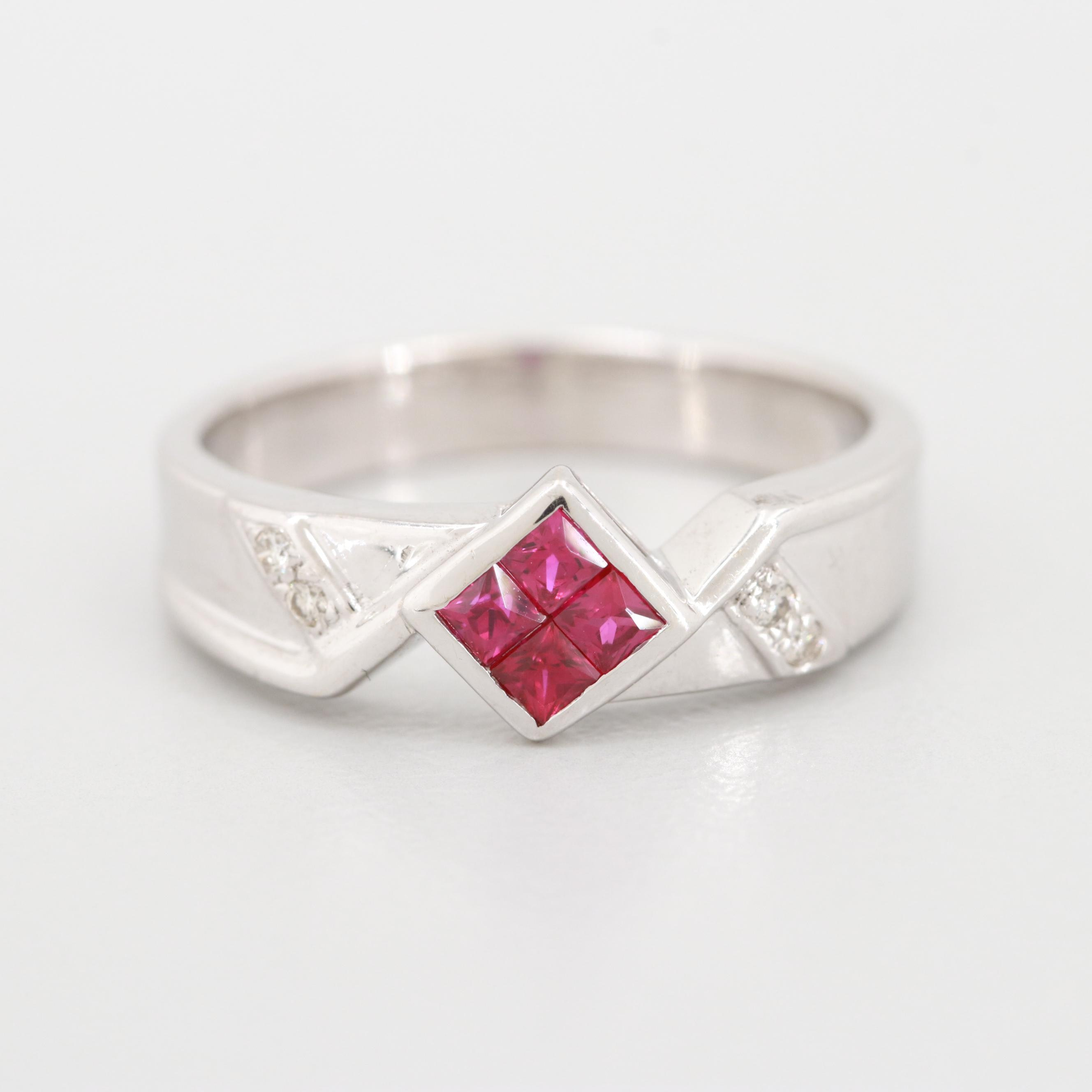 18K White Gold Diamond and Synthetic Ruby Ring