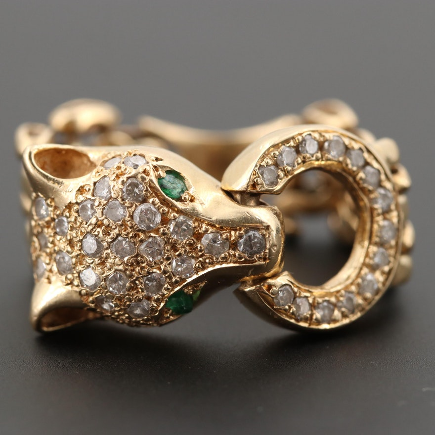 81c0ffaf904fb 14K Yellow Gold Diamond and Emerald Pavé Panther Ring