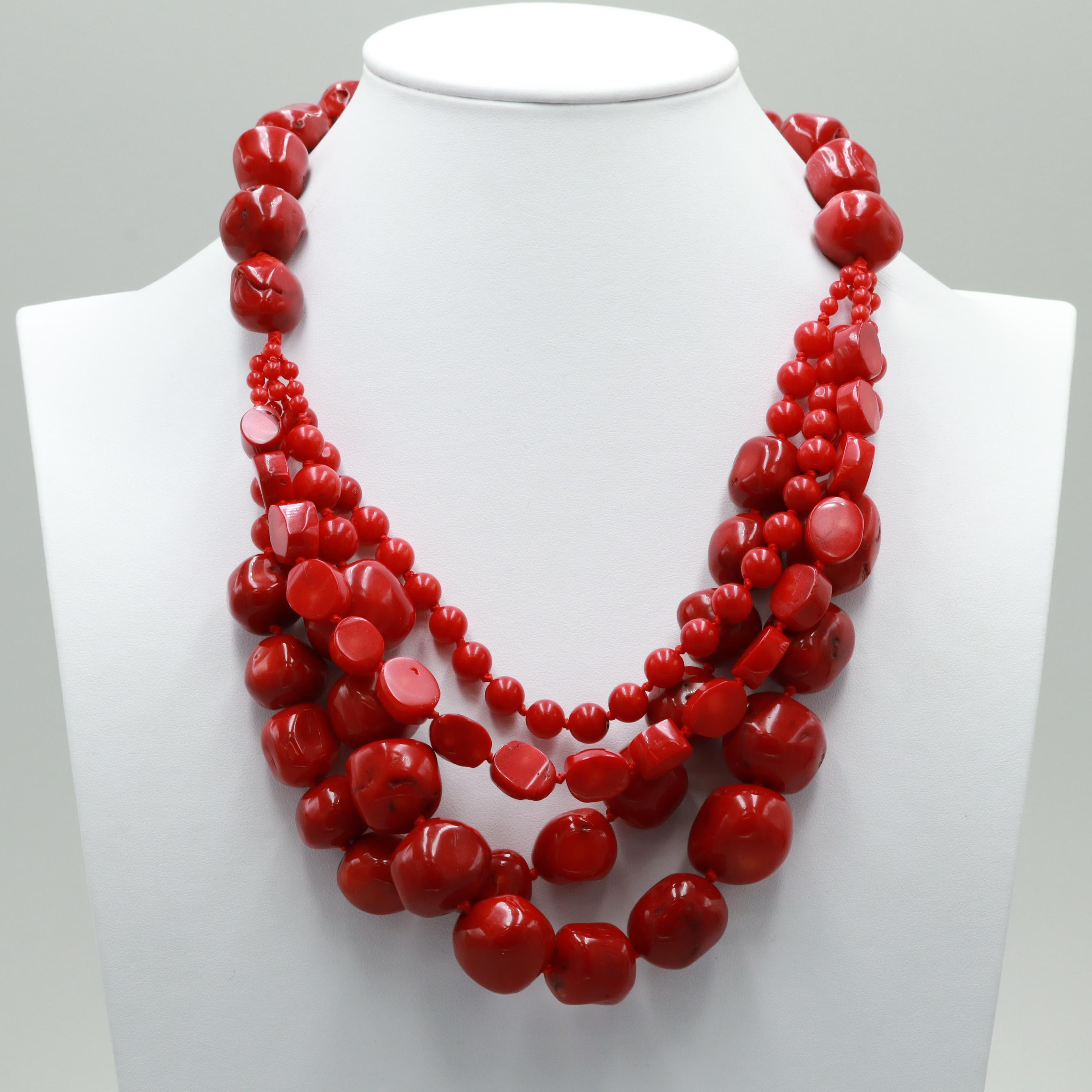 Sterling Silver Dyed Coral Layered Necklace
