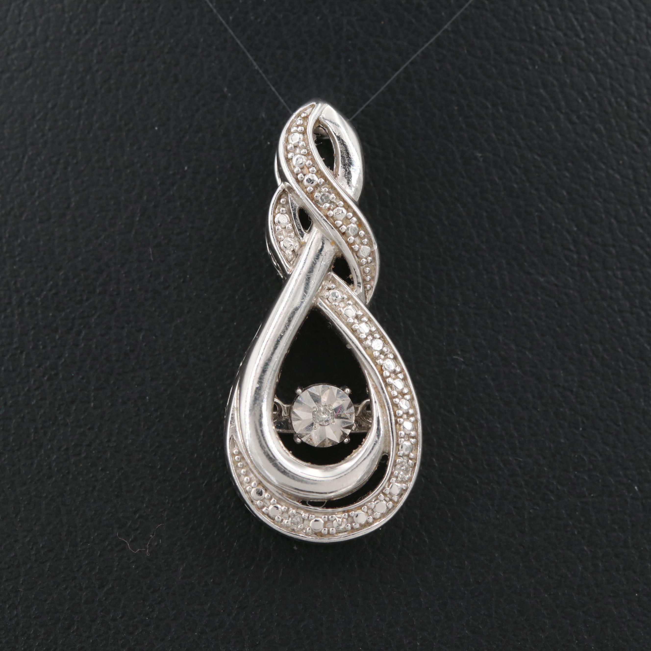 Sterling Silver Diamond Trembler Pendant