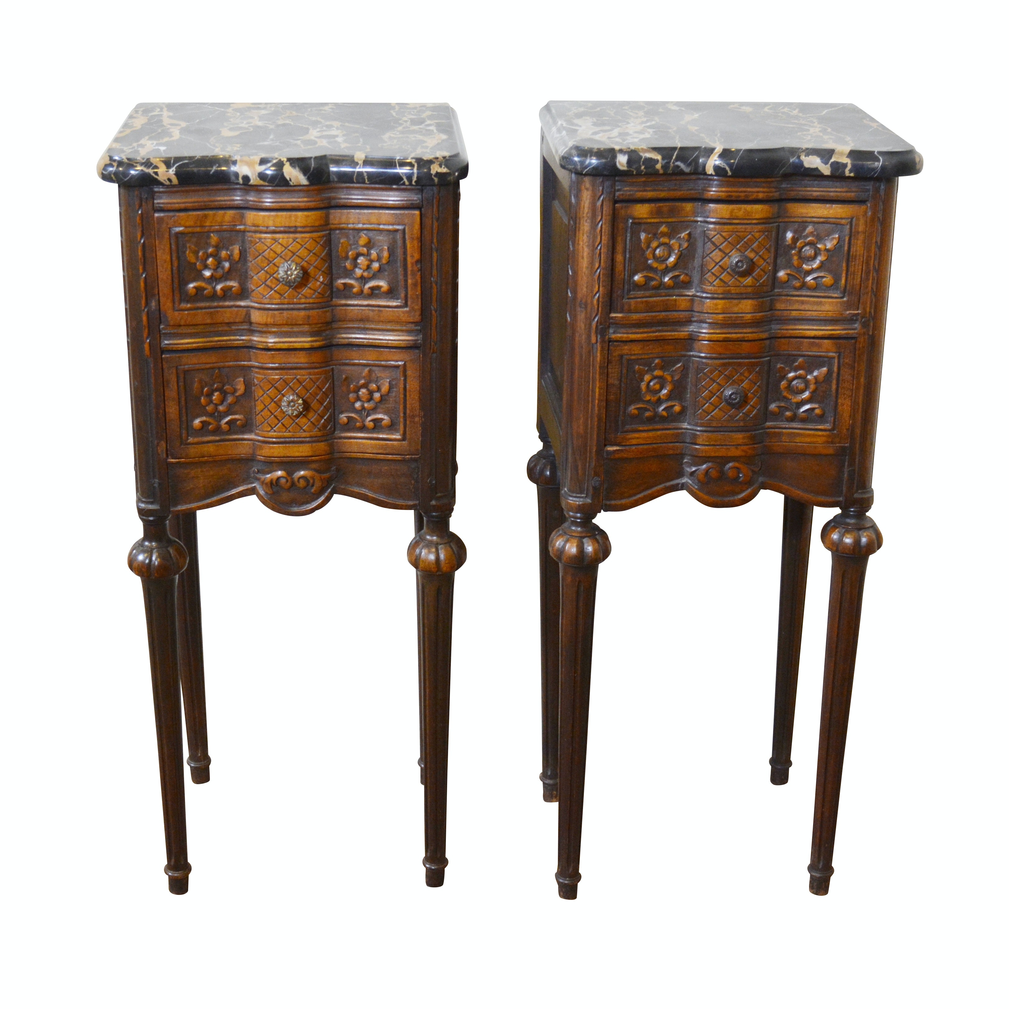 Pair of Louis XVI Style Walnut Marble Top Bedside Tables, Early 20th Century