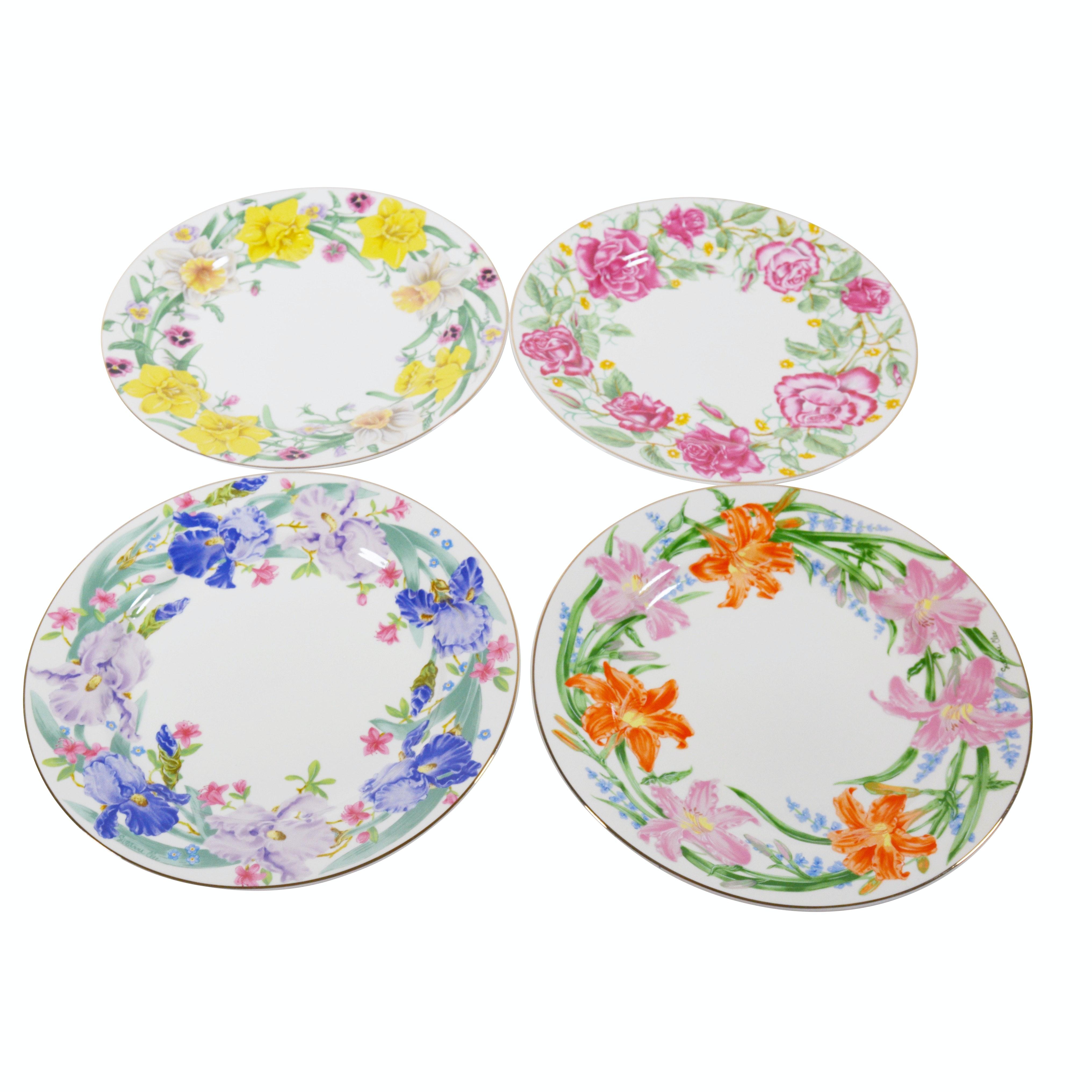 "Lenox ""Flower Blossom Collection"" Dessert Plates, Set of Four"